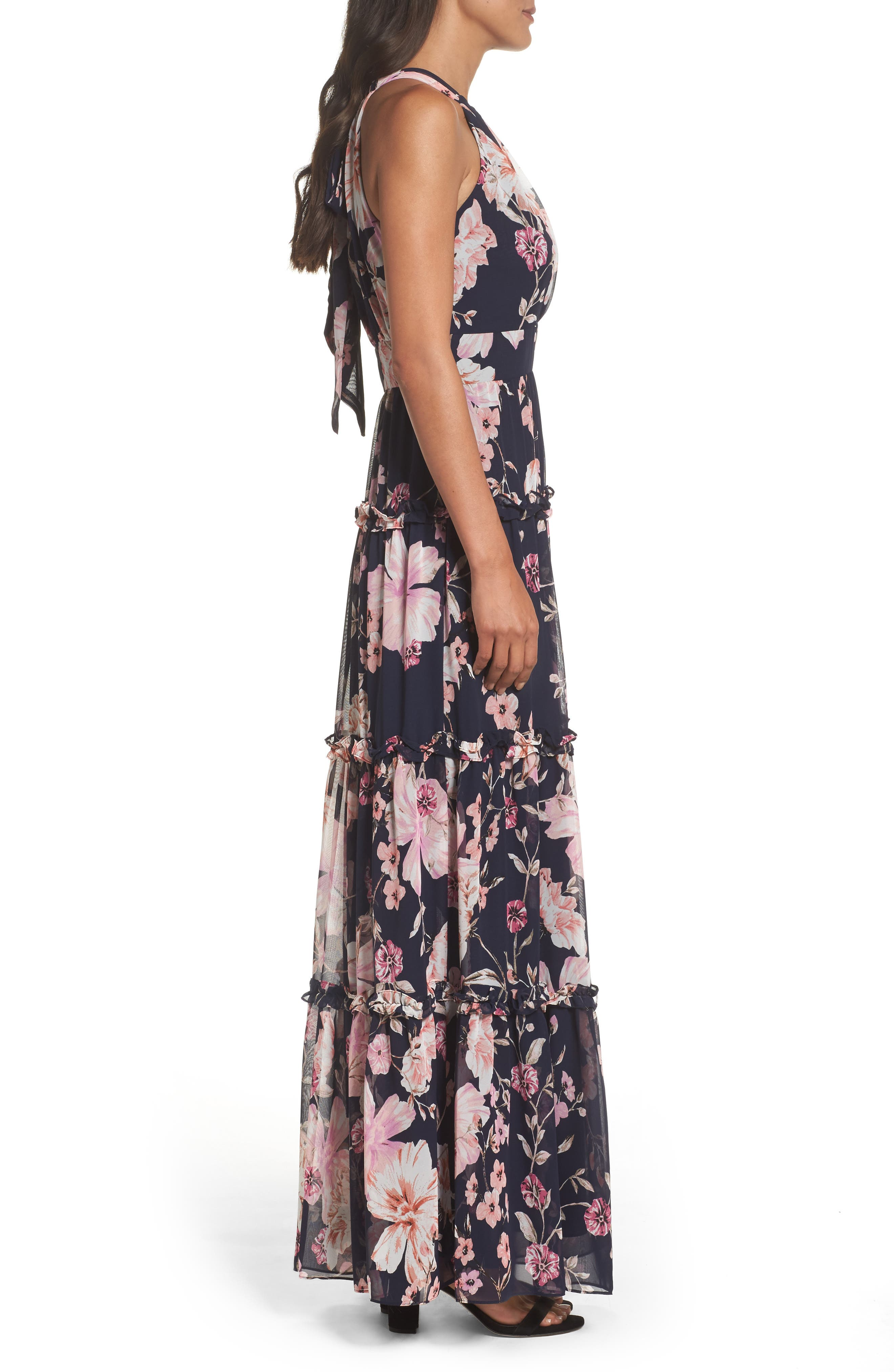Floral Halter Maxi Dress,                             Alternate thumbnail 3, color,                             654