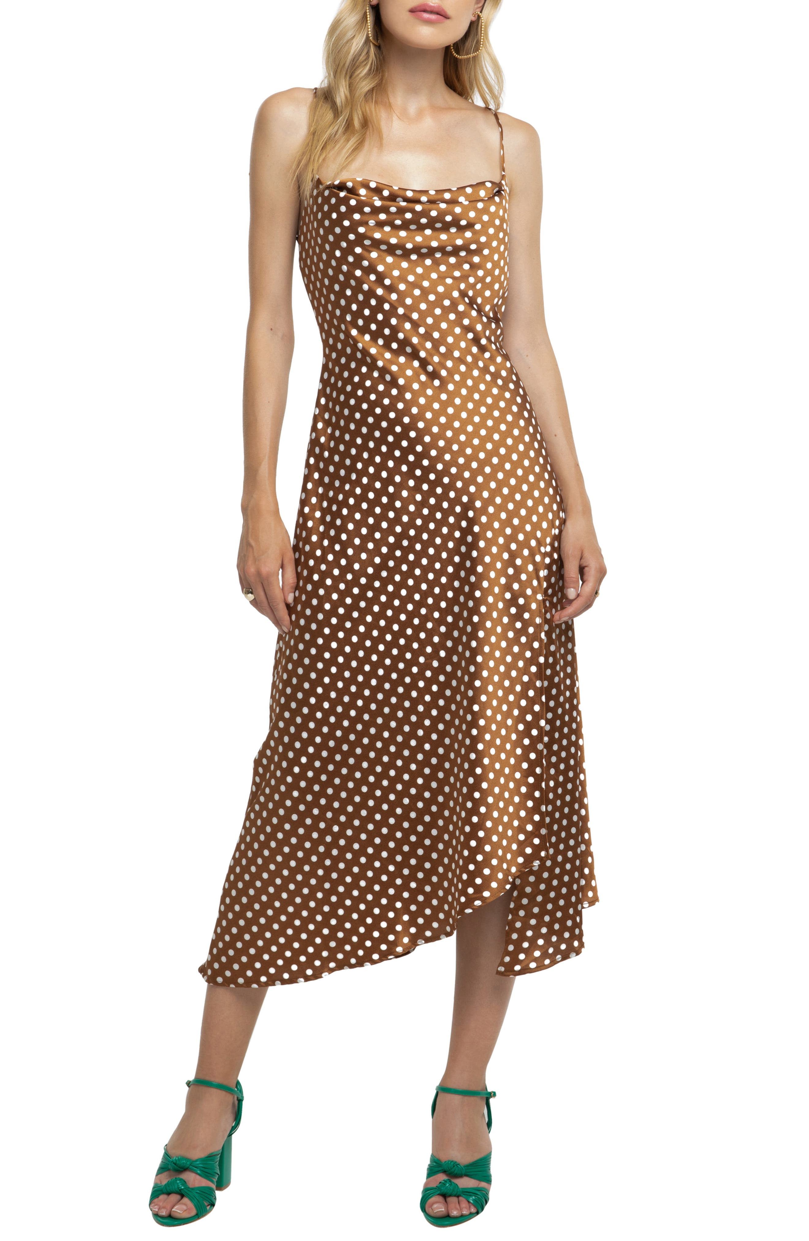 Astr Strappy Cowl Neck Midi Dress, Brown