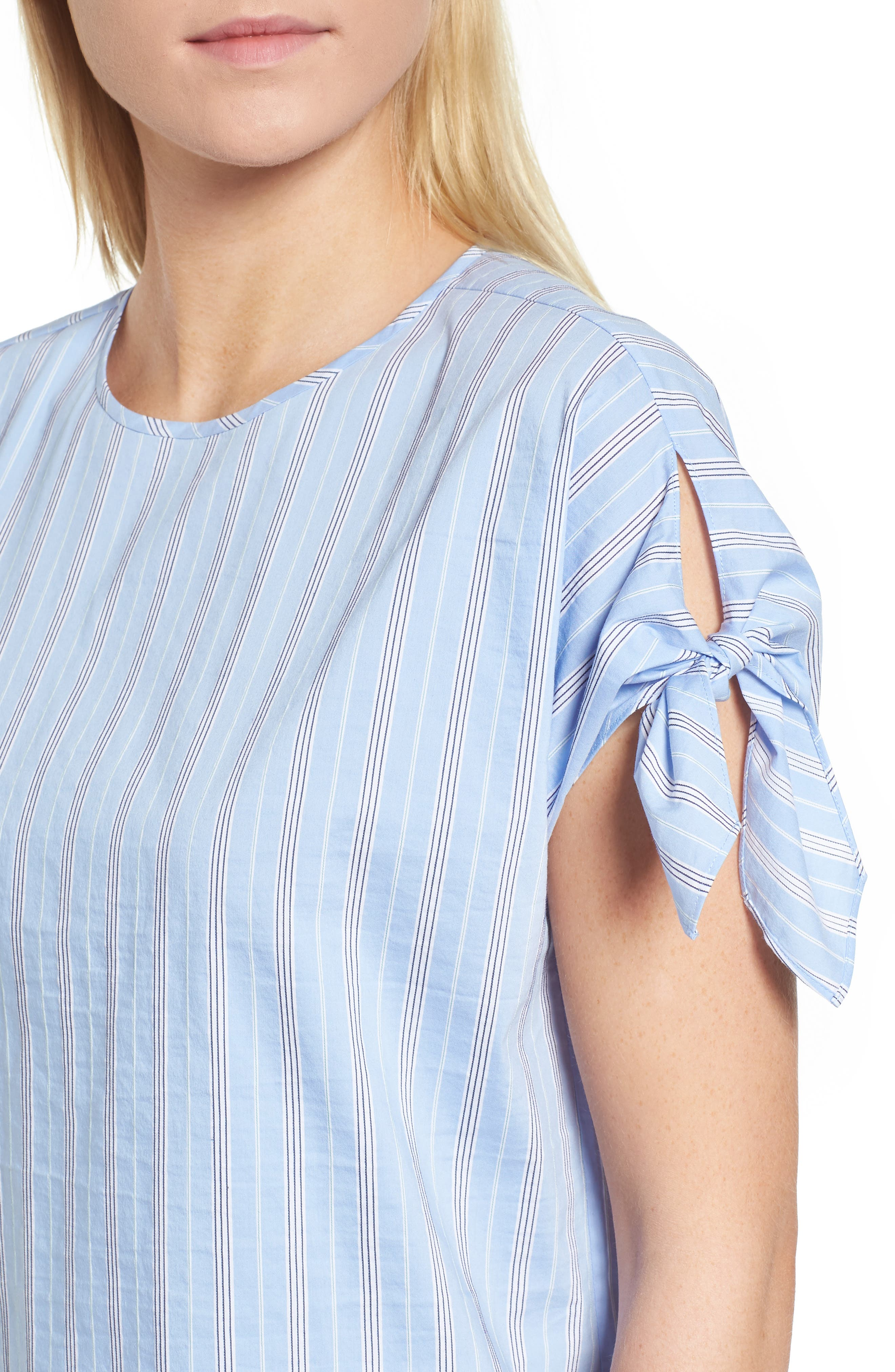 Tie Sleeve Stripe Top,                             Alternate thumbnail 4, color,                             420