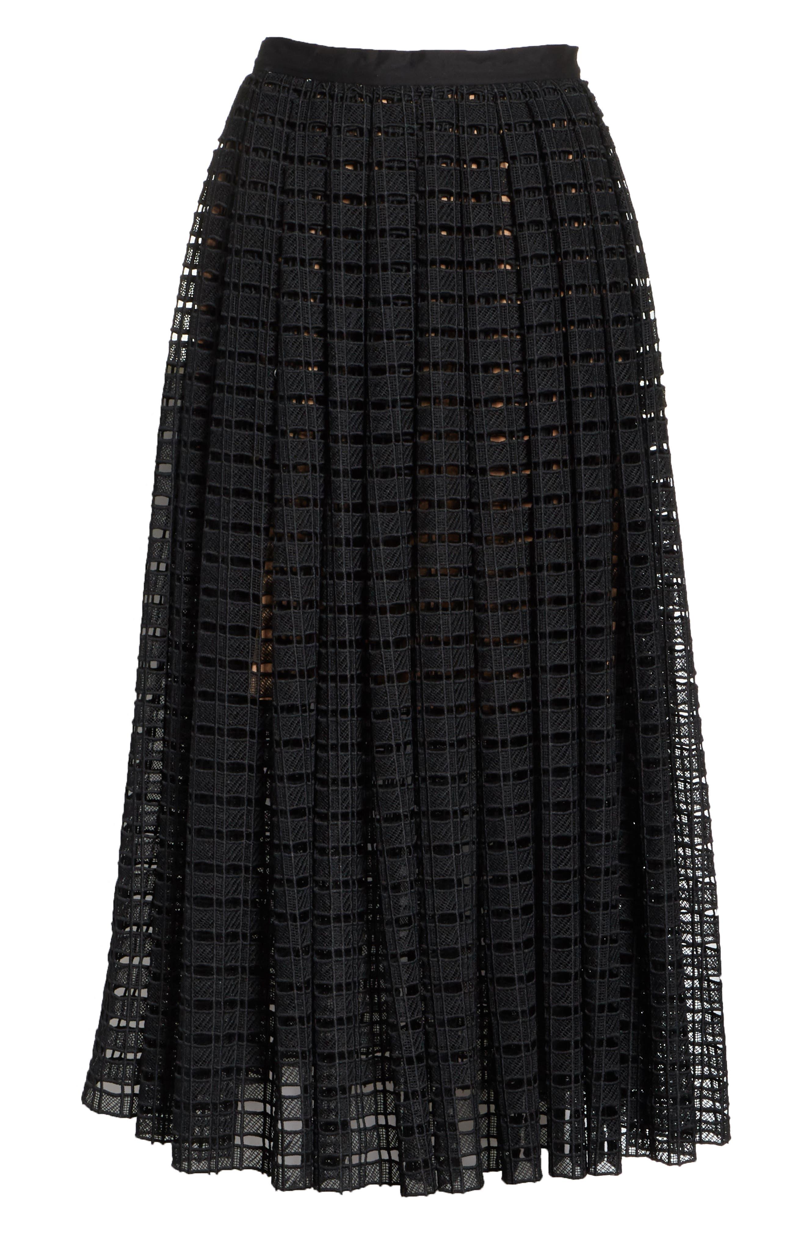 Lace Mesh Midi Skirt,                             Alternate thumbnail 6, color,                             001