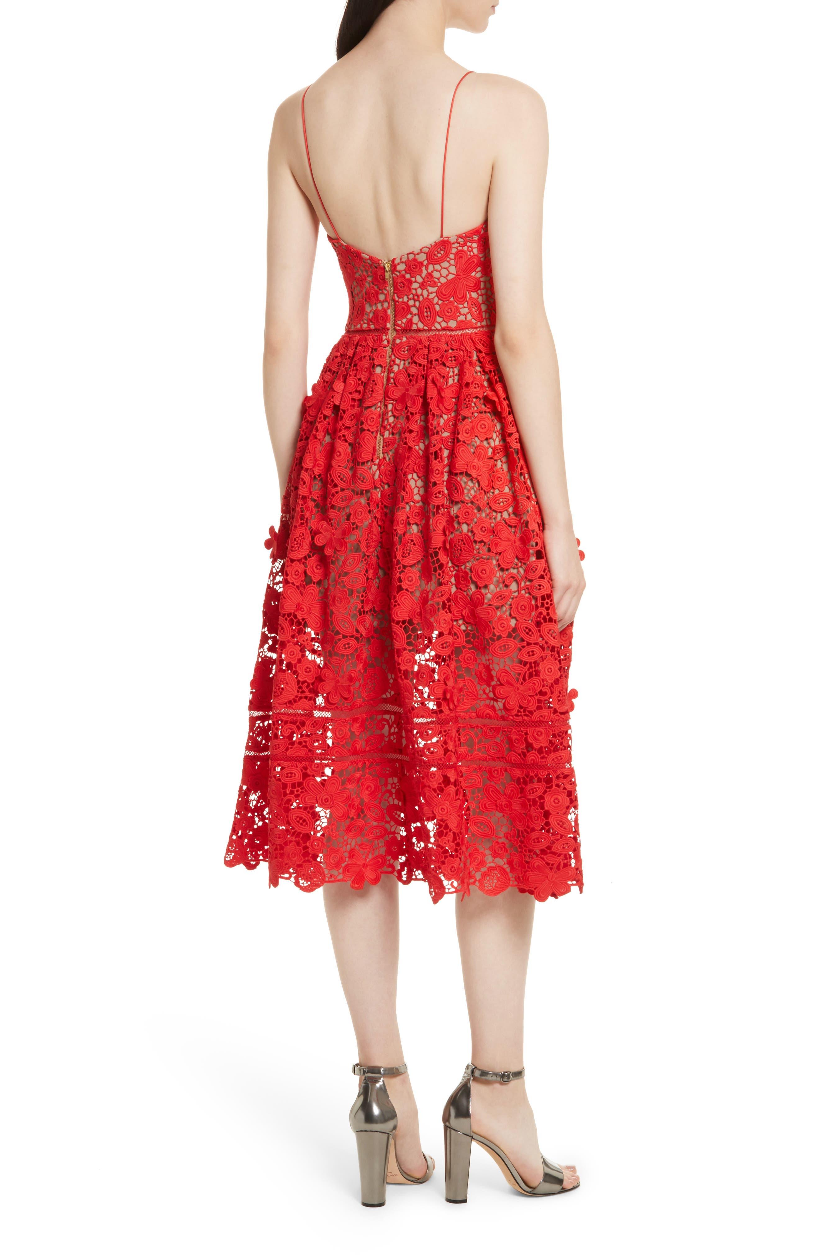 Azaelea 3D Lace Fit & Flare Dress,                             Alternate thumbnail 6, color,