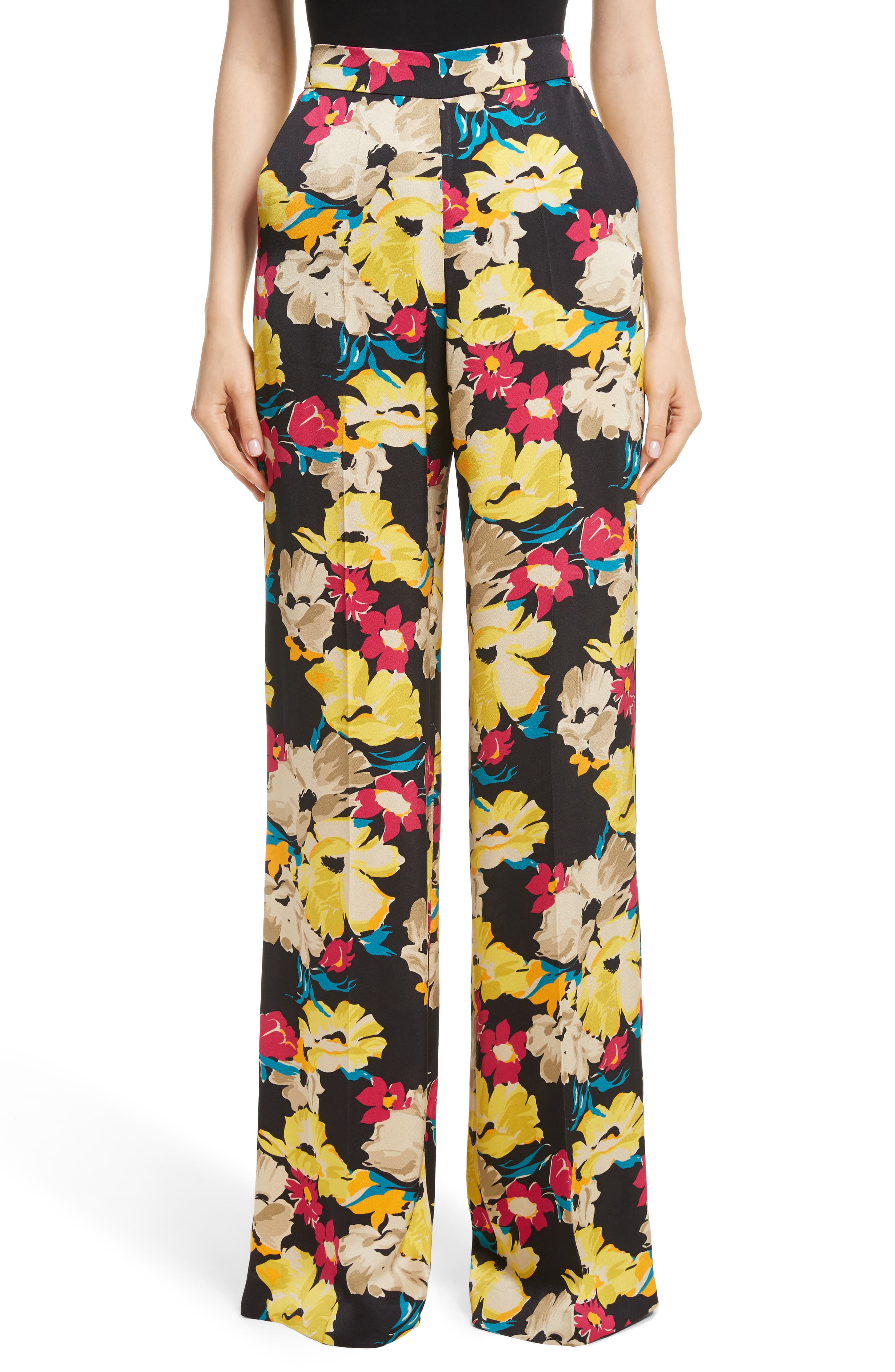 Floral Print Wide Leg Pants,                             Main thumbnail 1, color,                             001