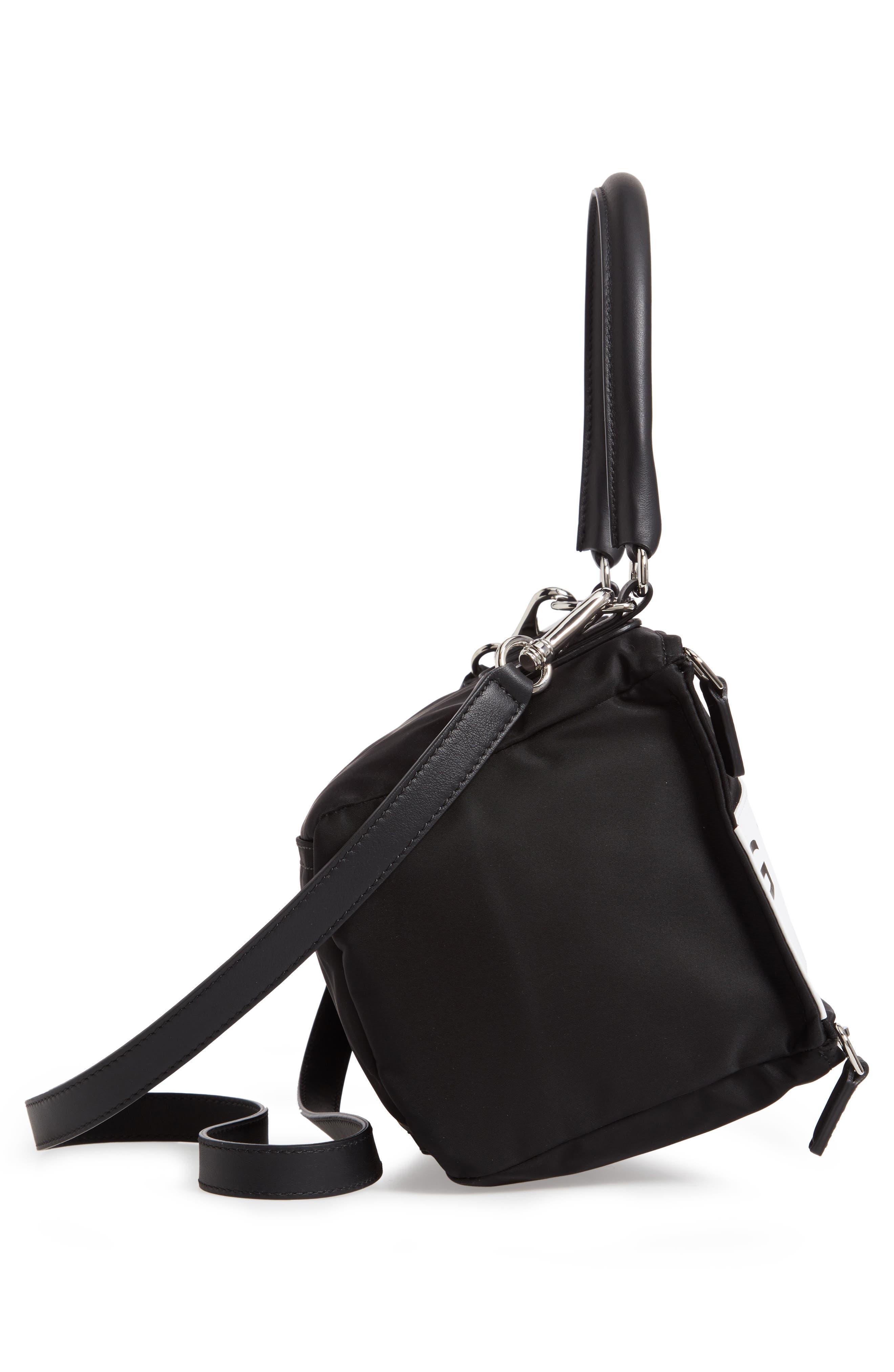 GIVENCHY,                             Small Pandora Logo Shoulder Bag,                             Alternate thumbnail 5, color,                             BLACK