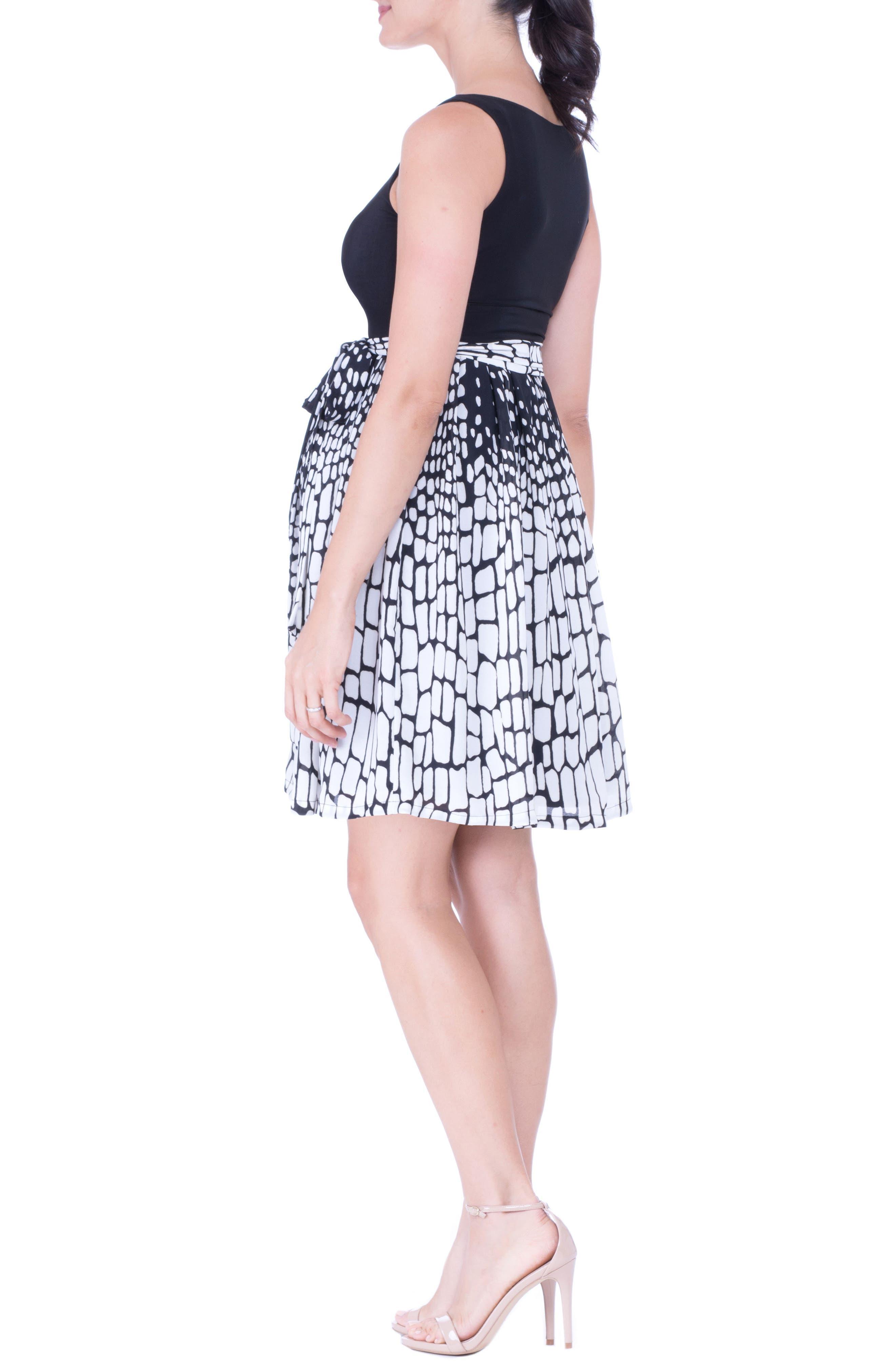 Print Maternity Dress,                             Alternate thumbnail 4, color,                             BLACK/ WHITE
