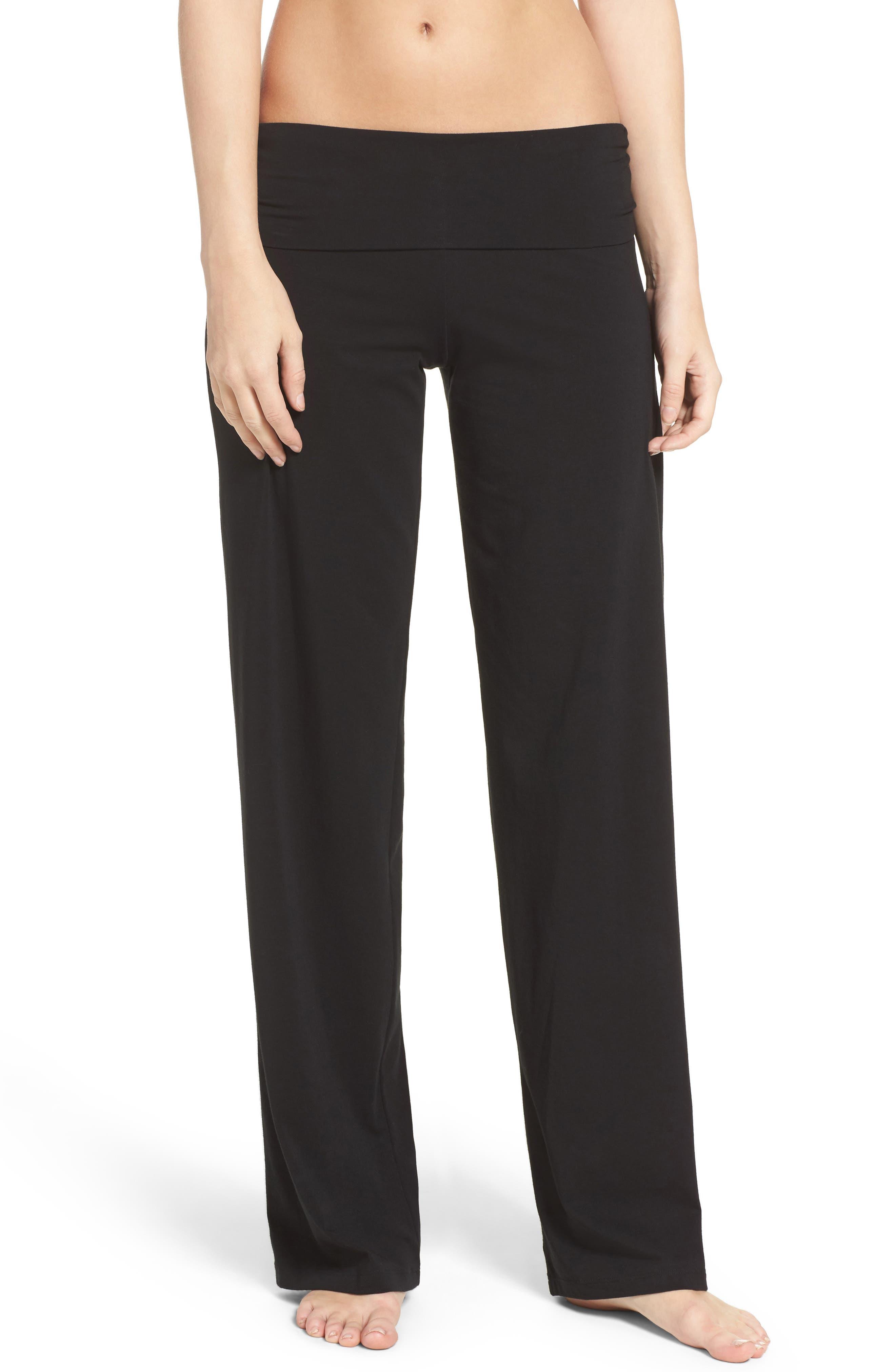 Wide Leg Stretch Cotton Pajama Pants,                         Main,                         color, 001