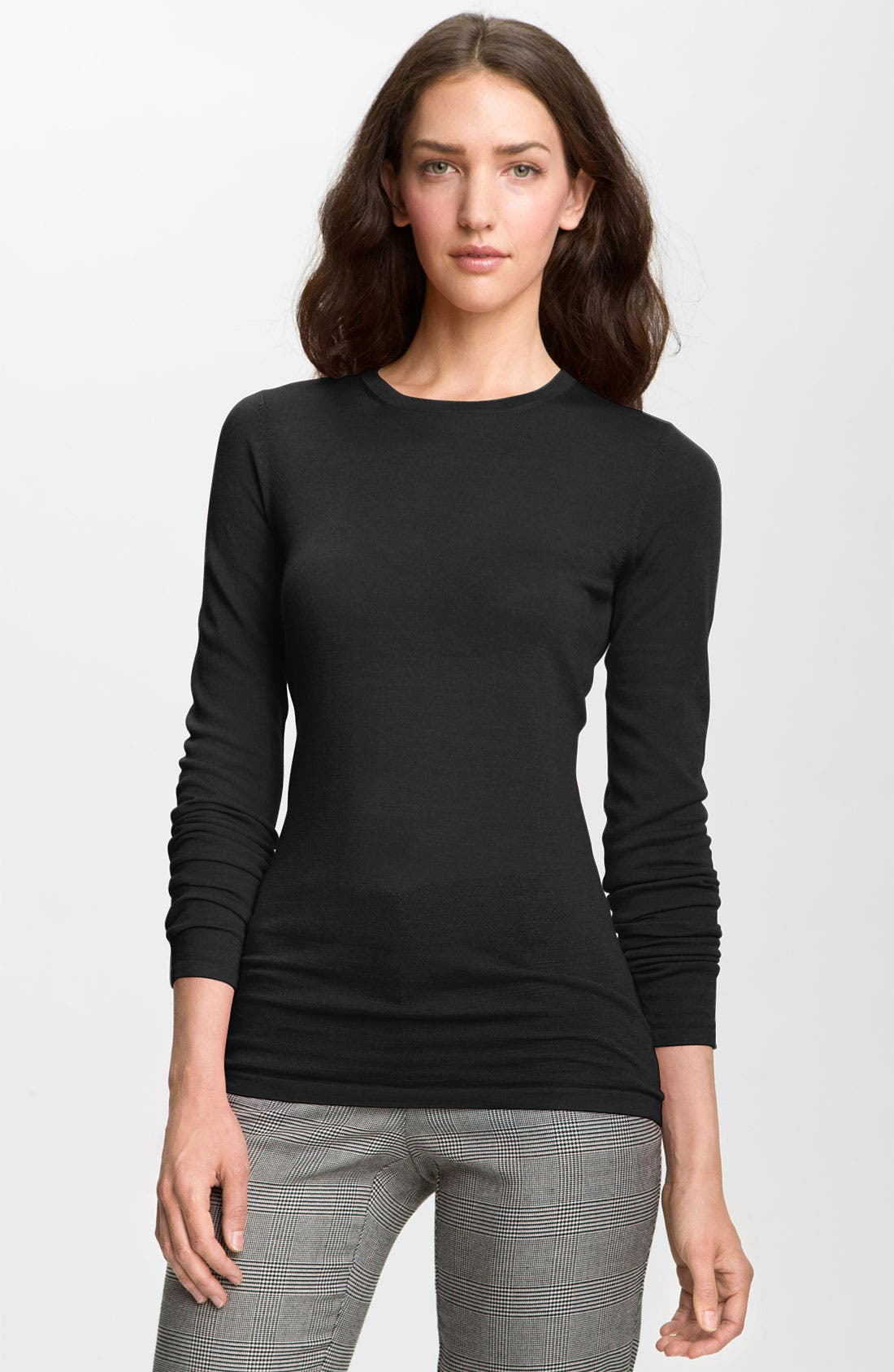 Refined Wool Crewneck Sweater,                             Main thumbnail 1, color,                             001