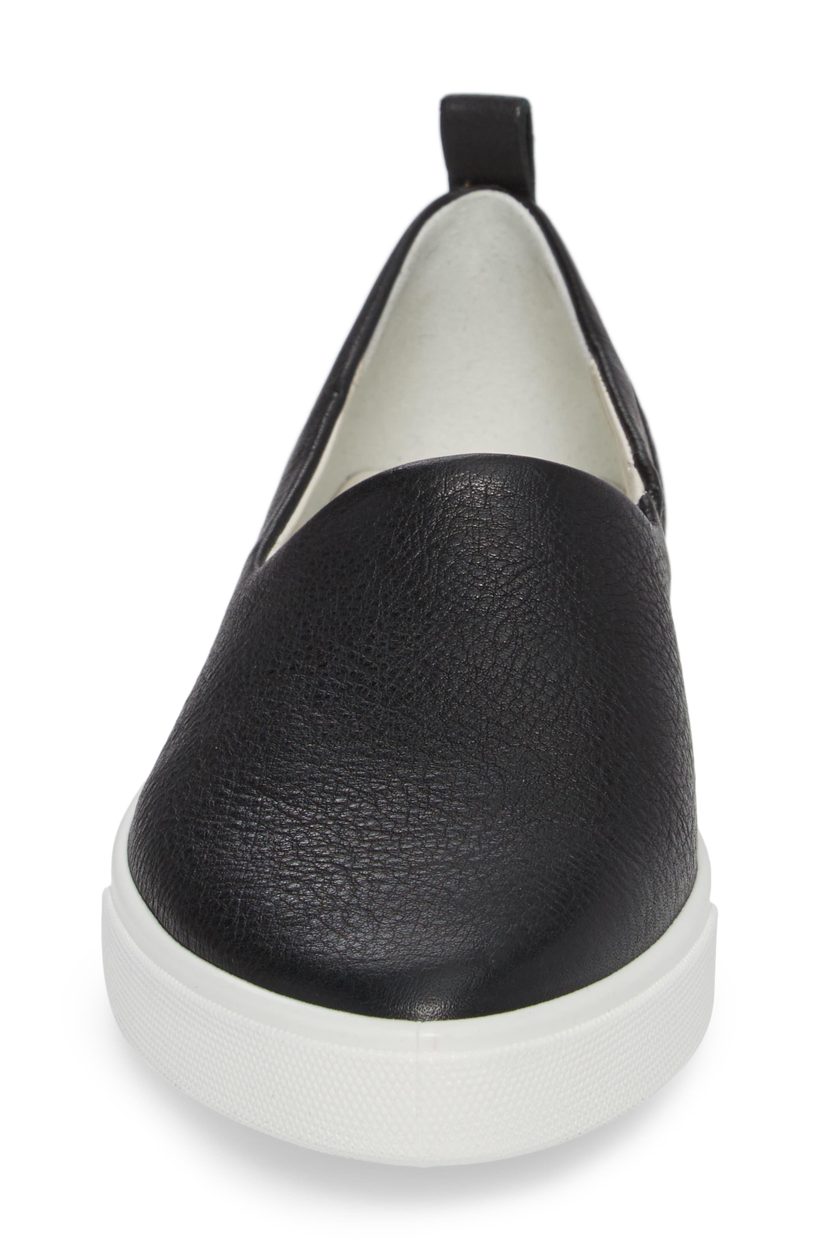 Gillian Slip-On Sneaker,                             Alternate thumbnail 4, color,                             BLACK LEATHER