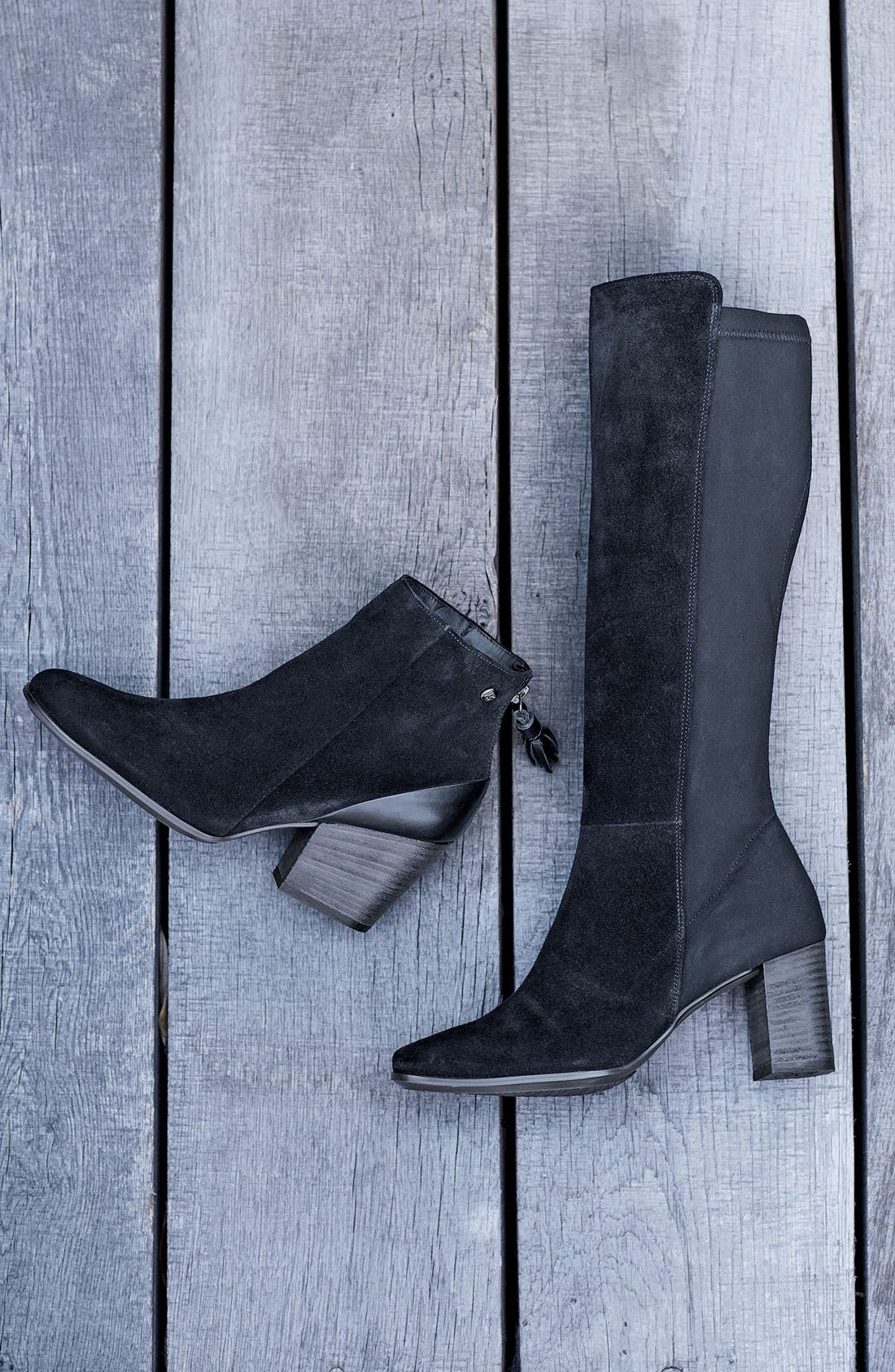 'Jackie' Water Resistant Boot,                             Alternate thumbnail 5, color,                             BLACK SUEDE