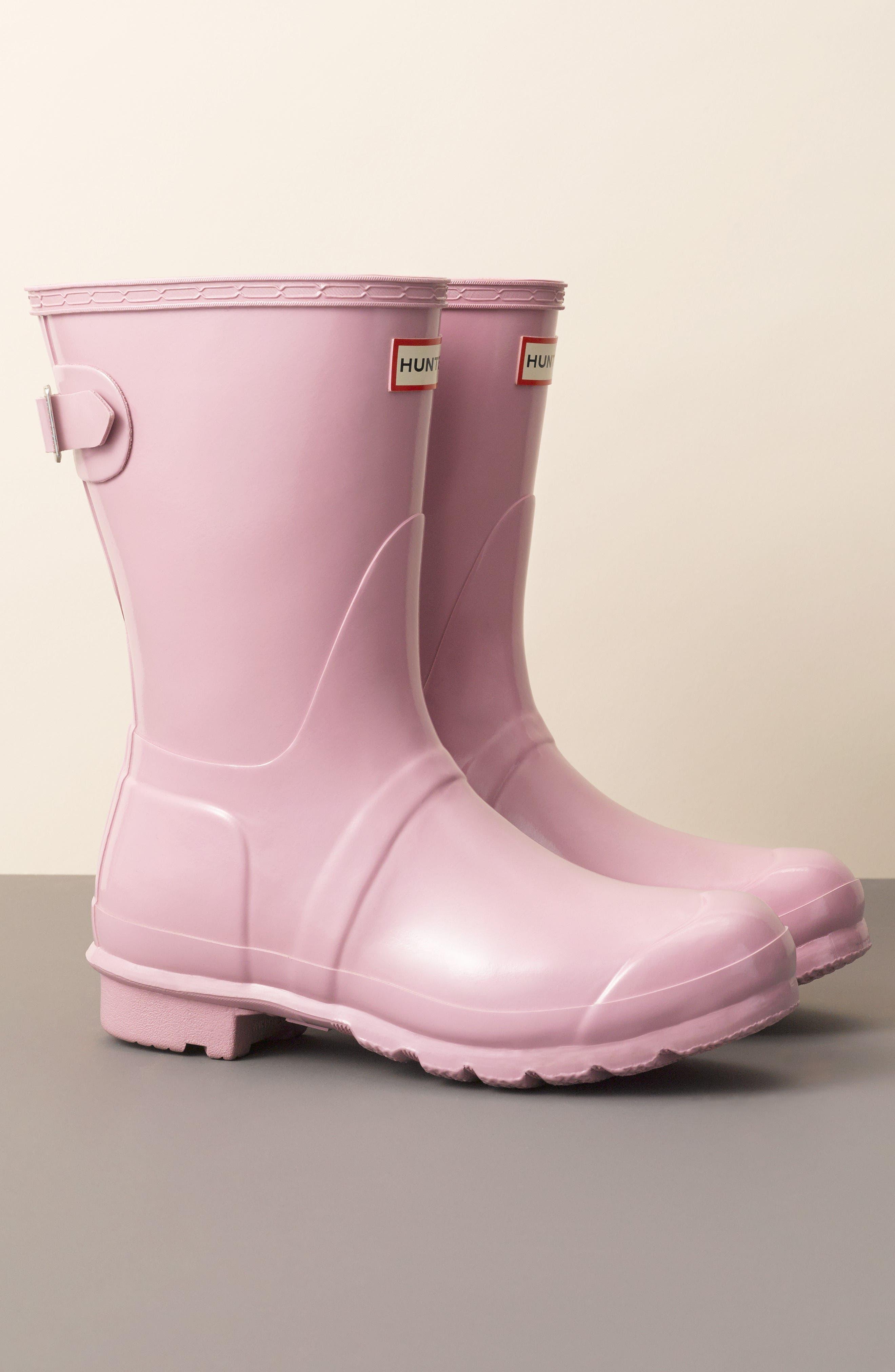 Original Short Adjustable Back Gloss Rain Boot,                             Alternate thumbnail 7, color,                             HYPER GREEN