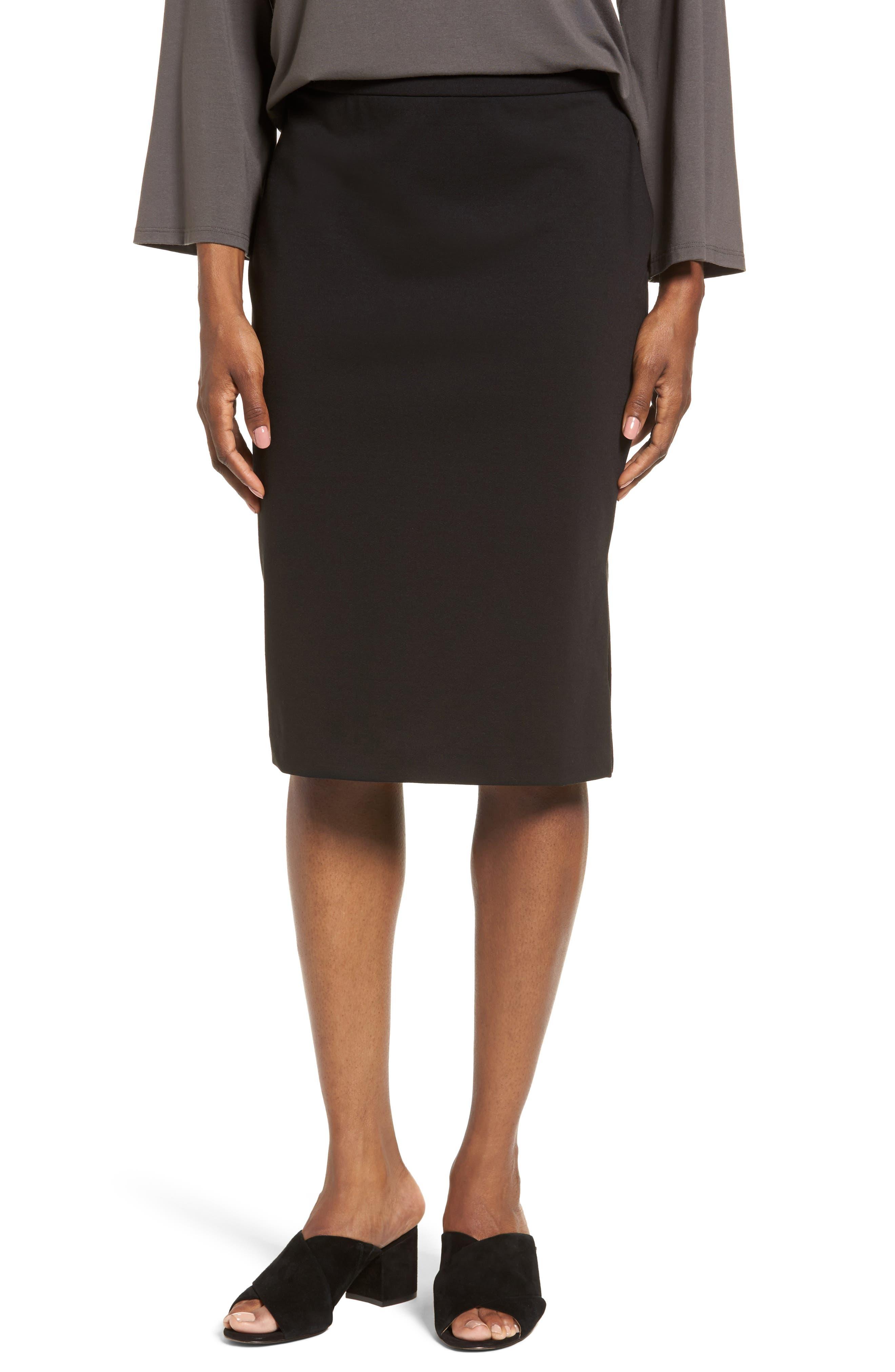 Tencel<sup>®</sup> Blend Pencil Skirt,                         Main,                         color, 001