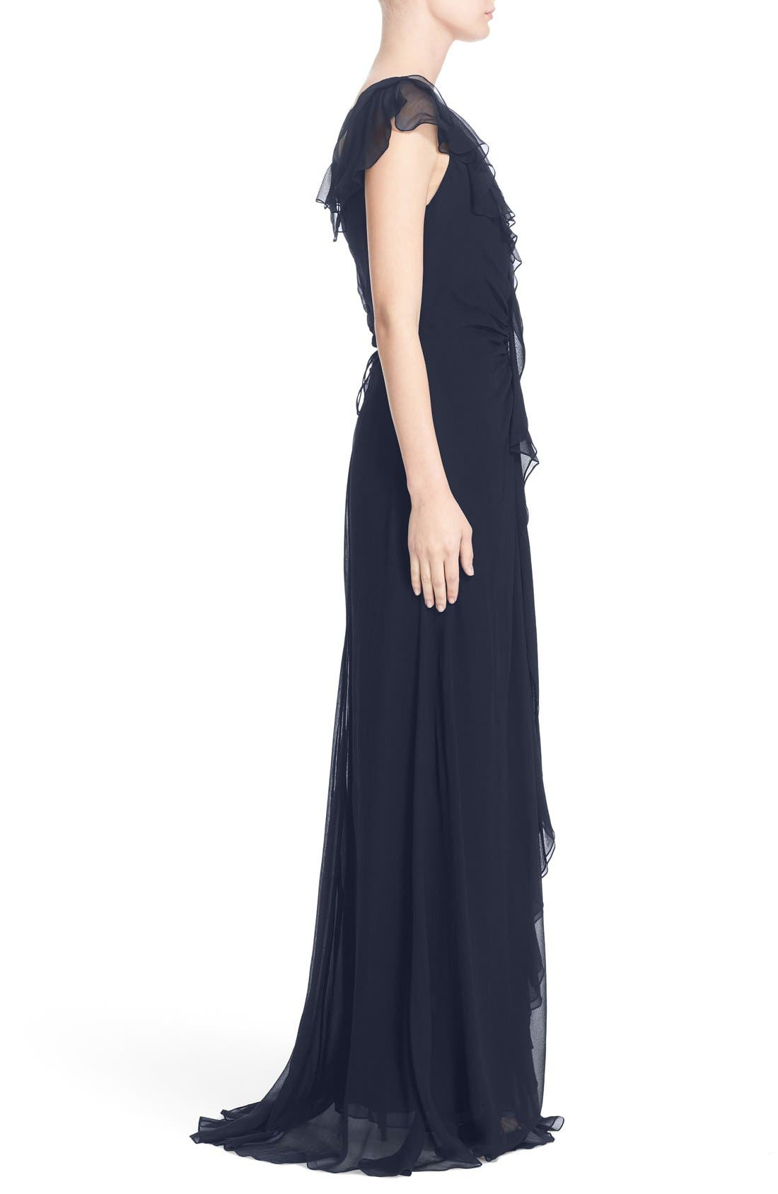 Ruffle Detail Silk Chiffon V-Neck Gown,                             Alternate thumbnail 3, color,                             400