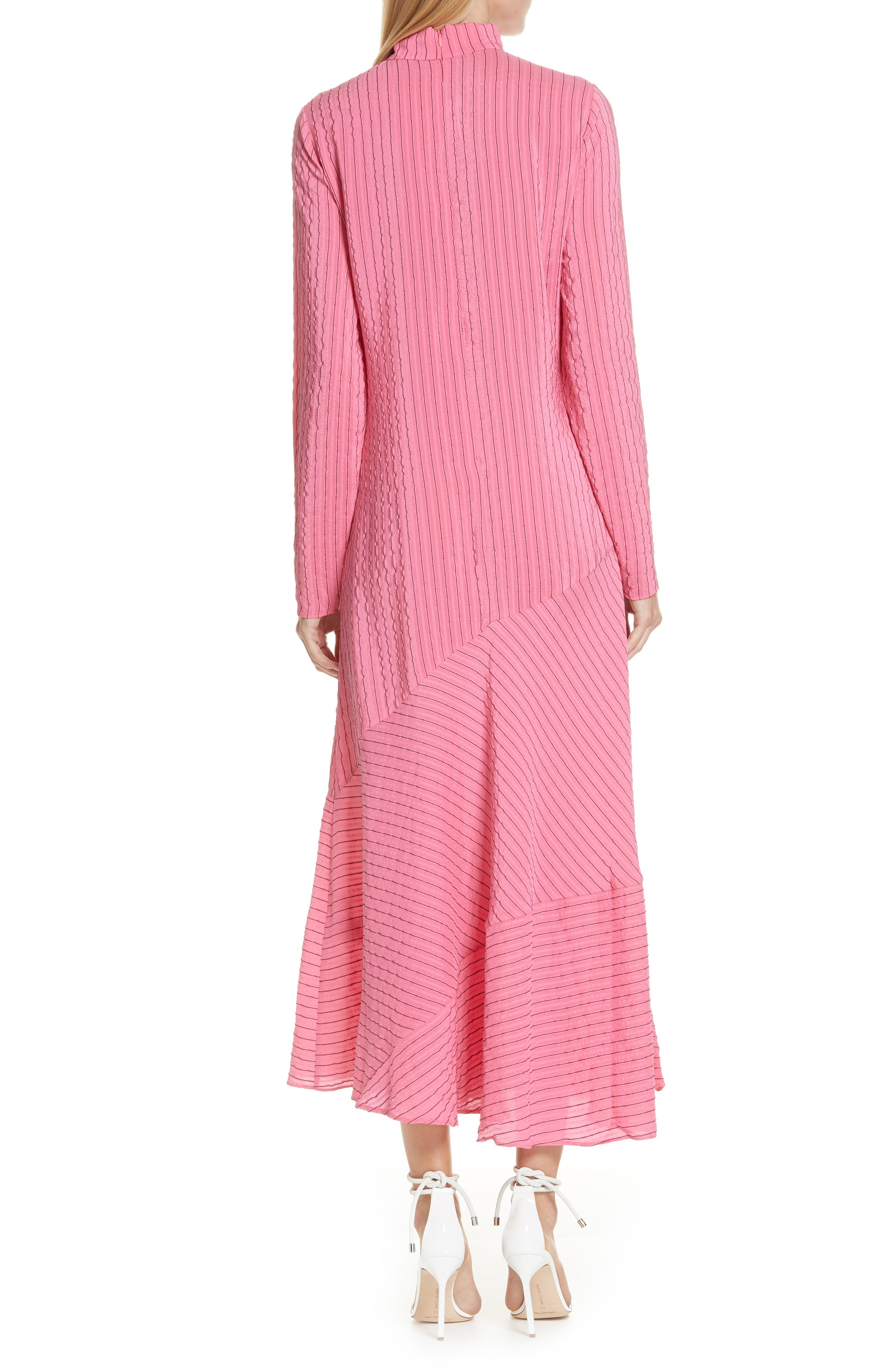 Seersucker Silk Blend Dress,                             Alternate thumbnail 2, color,                             650