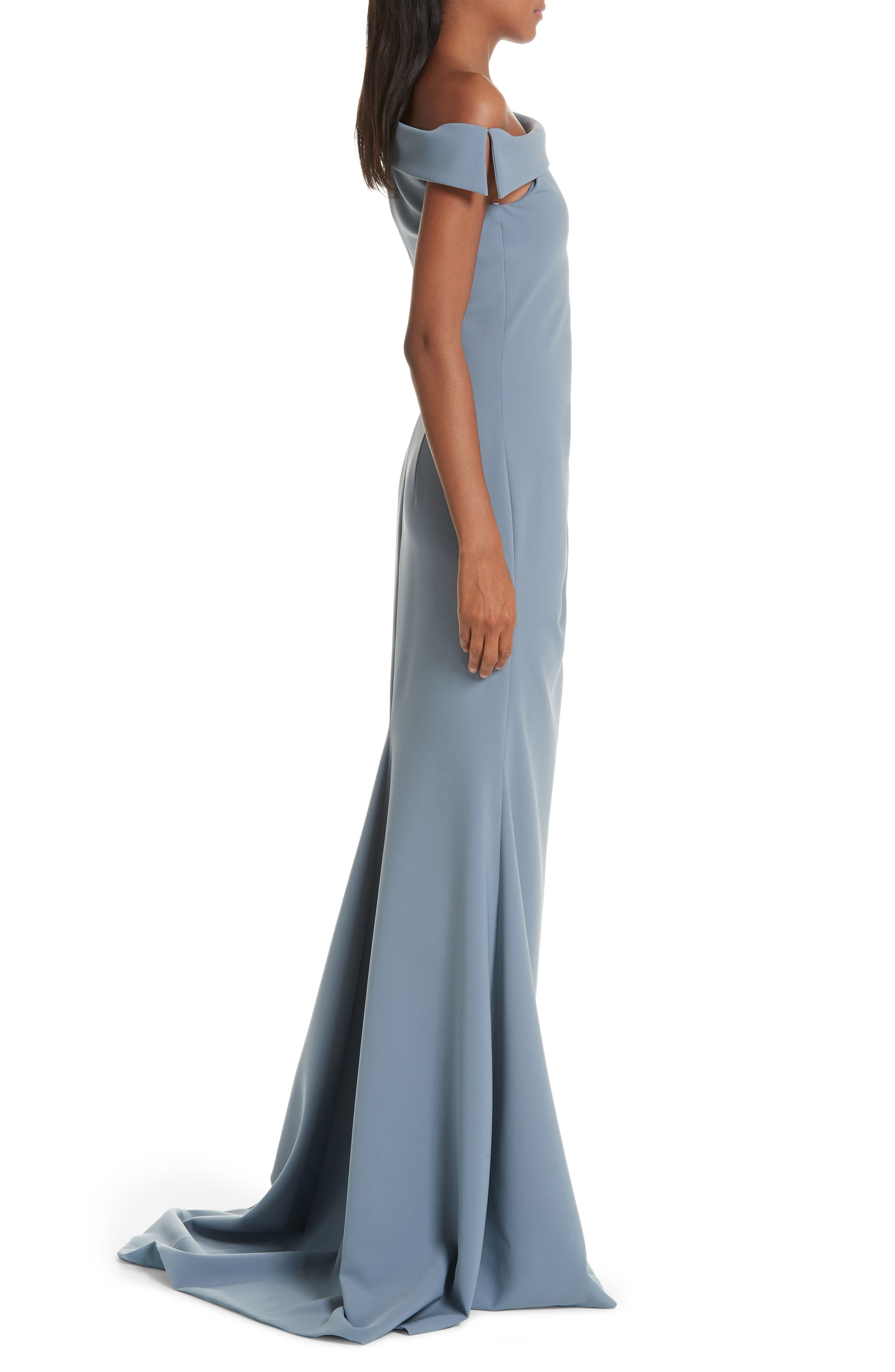 One-Shoulder Evening Dress,                             Alternate thumbnail 3, color,                             SHADOW BLUE
