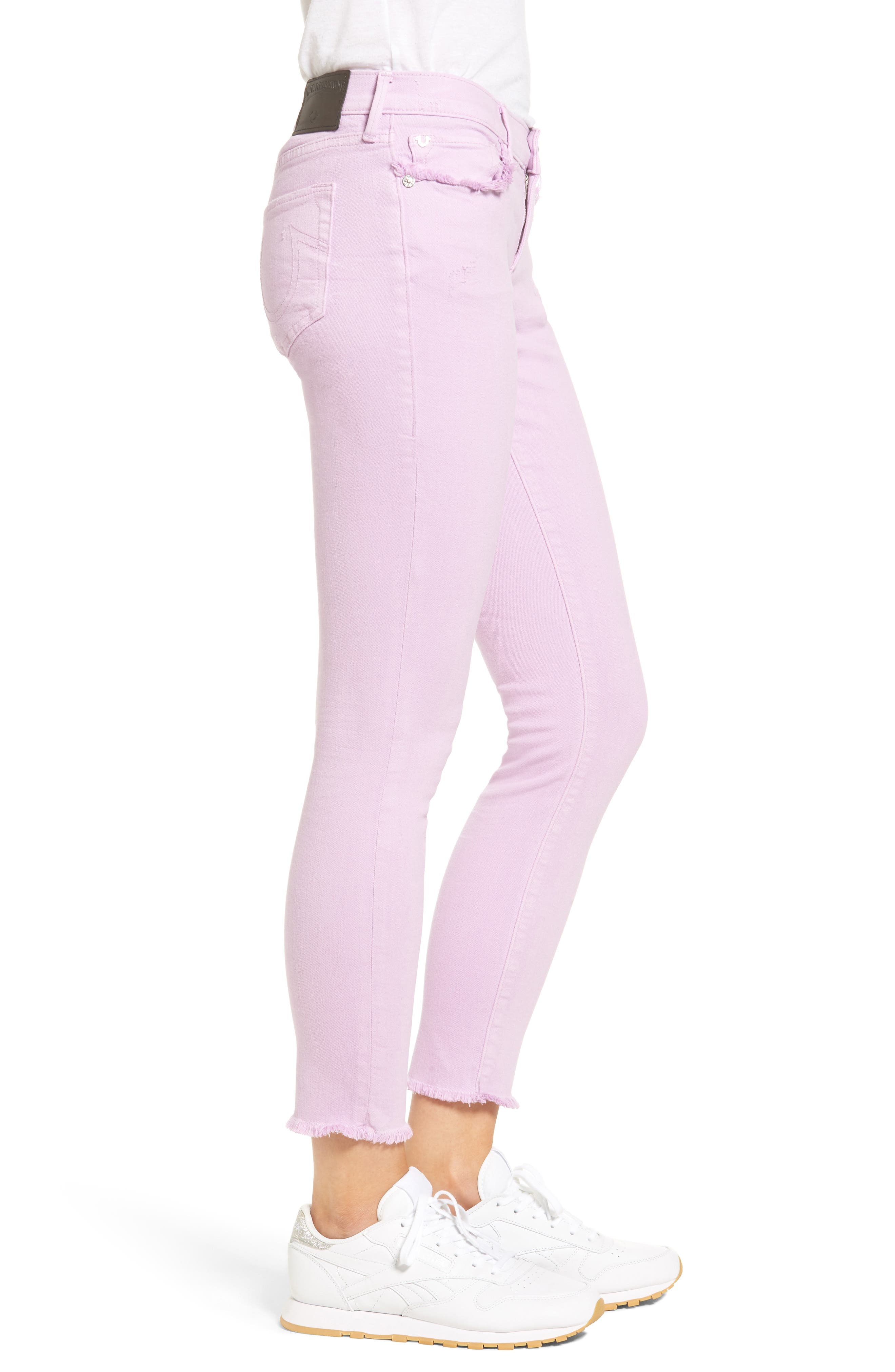 Casey Crop Fray Jeans,                             Alternate thumbnail 3, color,                             545