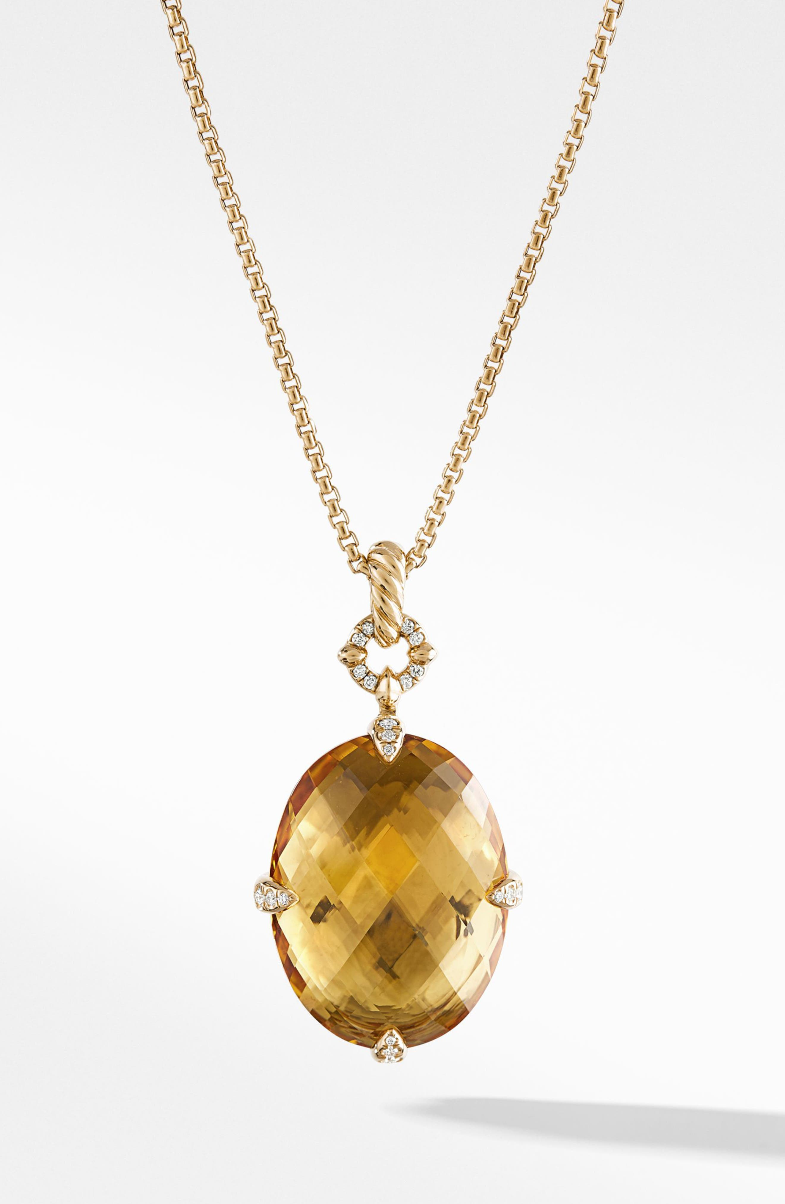 Chatelaine<sup>®</sup> 18k Gold Pendant Necklace with Honey Quartz & Diamonds,                         Main,                         color, GOLD/ DIAMOND/ HONEY QUARTZ