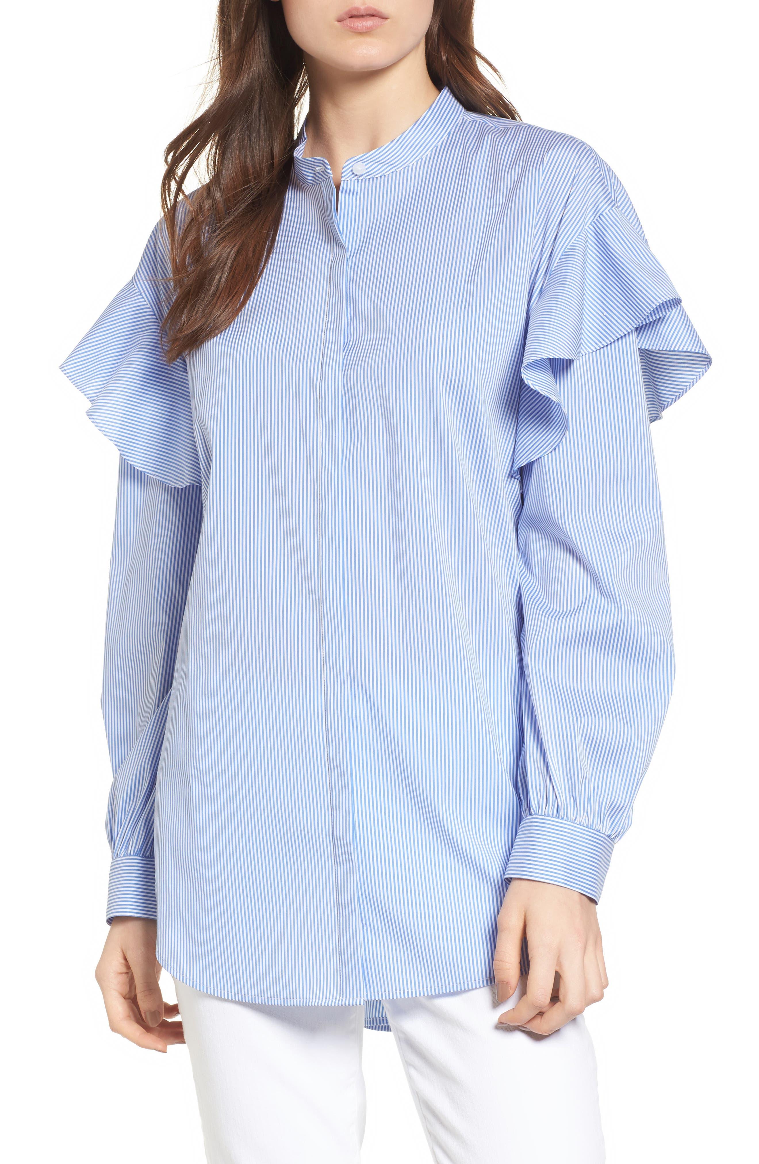 Ruffle Shoulder Blouse,                         Main,                         color, 420