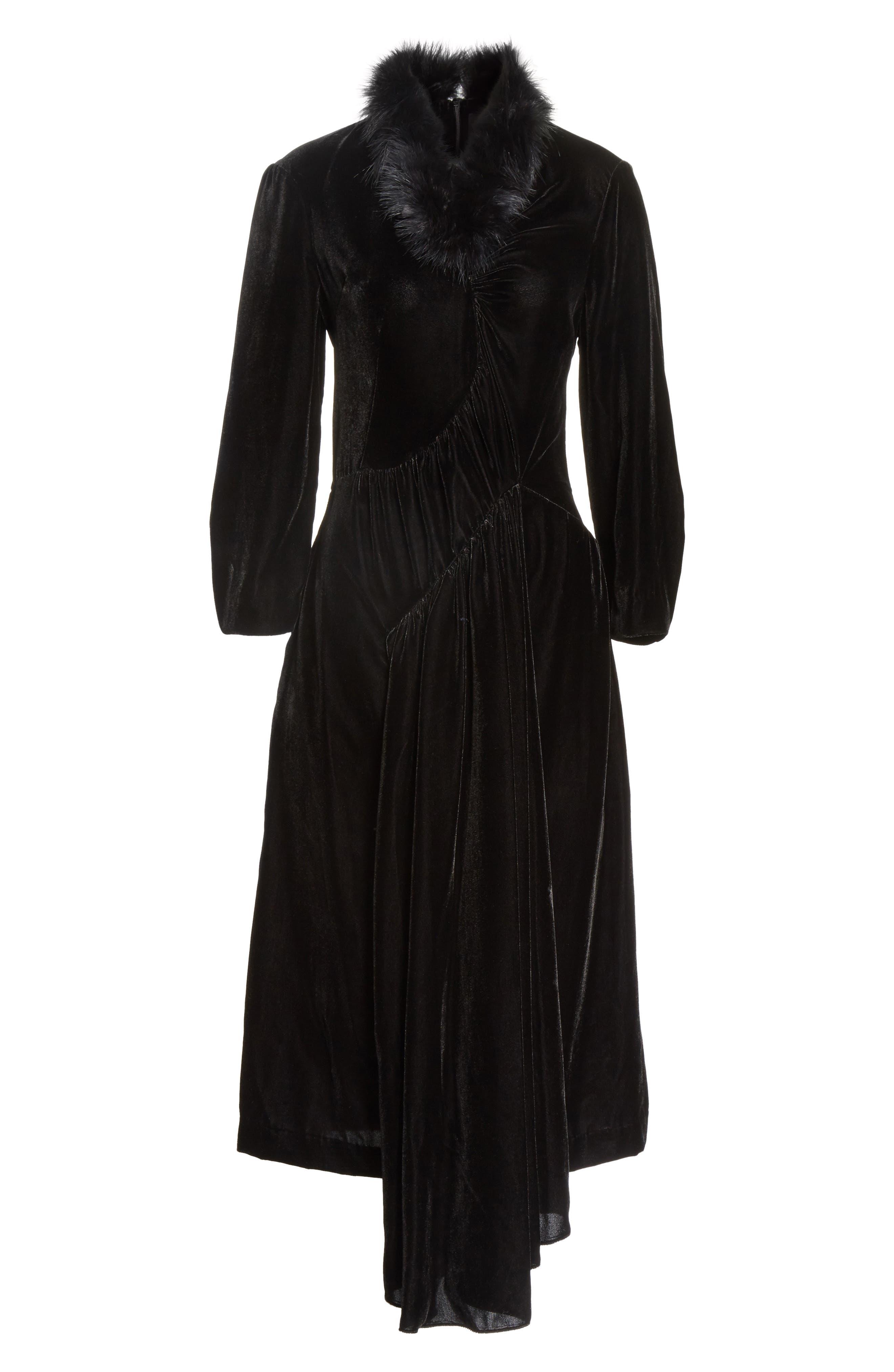 Asymmetrical Velvet Dress with Marabou Trim,                             Alternate thumbnail 6, color,                             001