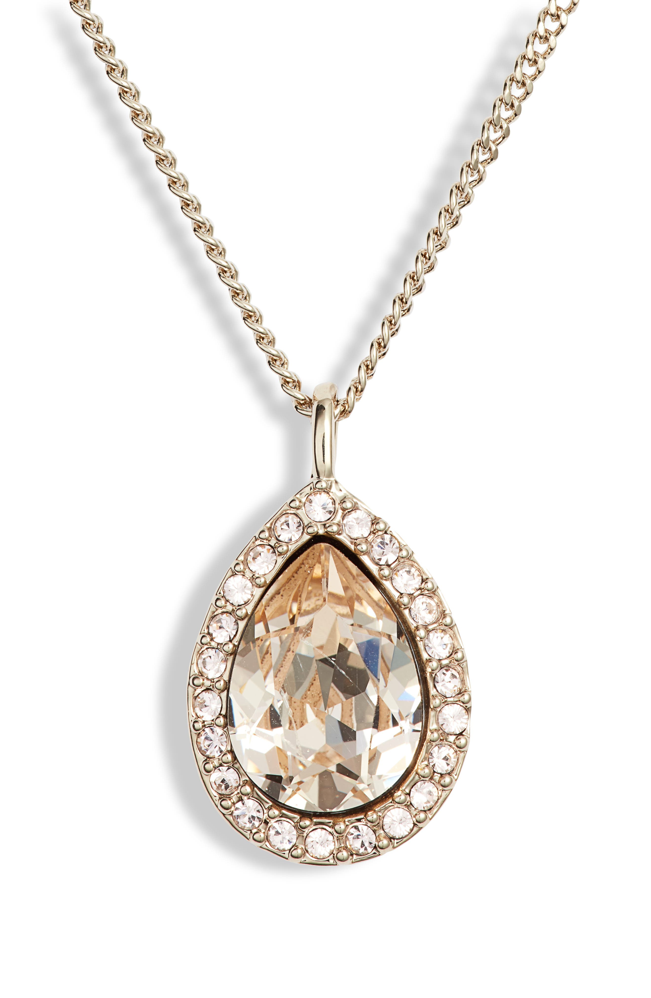 Pavé Pear Pendant Necklace,                         Main,                         color, SILK/ GOLD