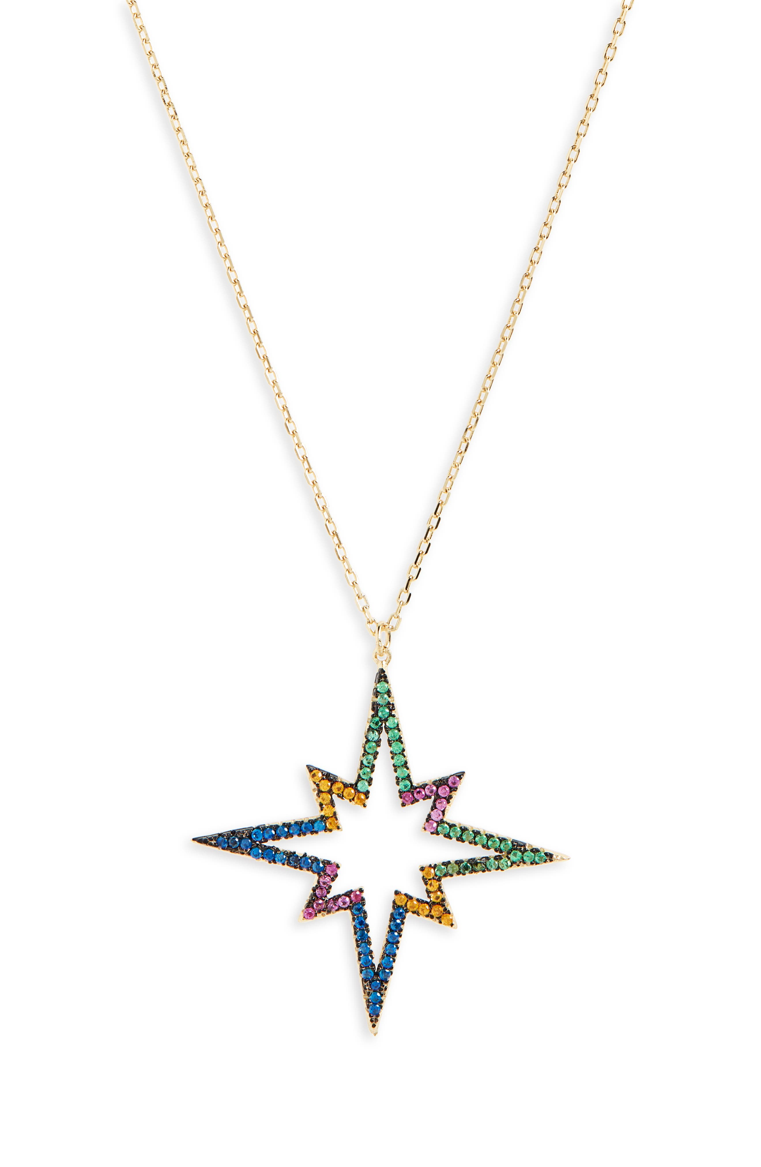 Rainbow Star Pendant Necklace,                             Main thumbnail 1, color,                             GOLD MULTI