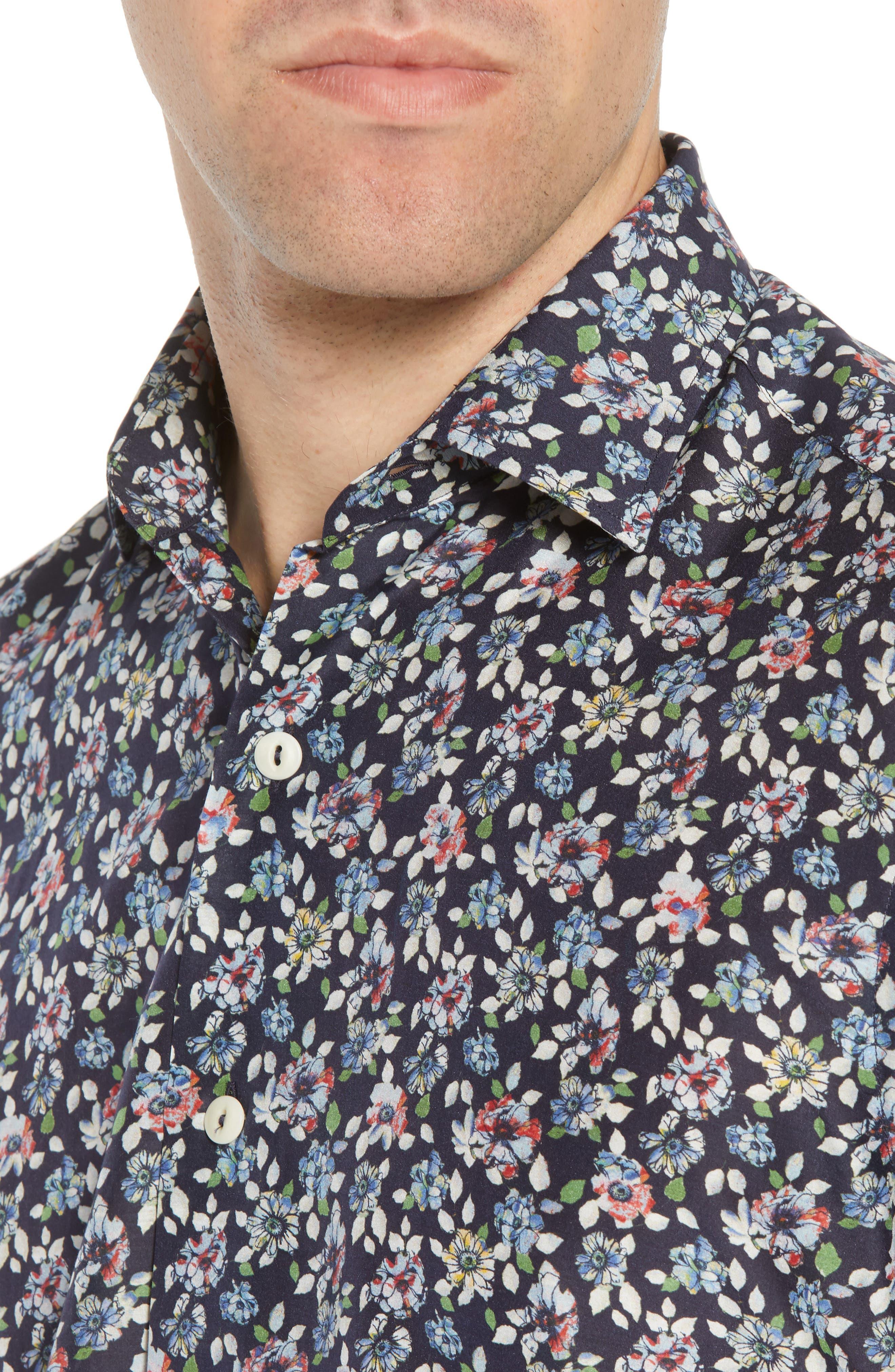 Trim Fit Print Cotton & Silk Sport Shirt,                             Alternate thumbnail 4, color,