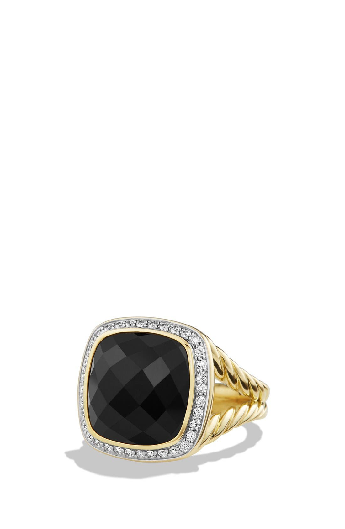 'Albion' Ring with Diamonds in 18k Gold, Main, color, BLACK ONYX