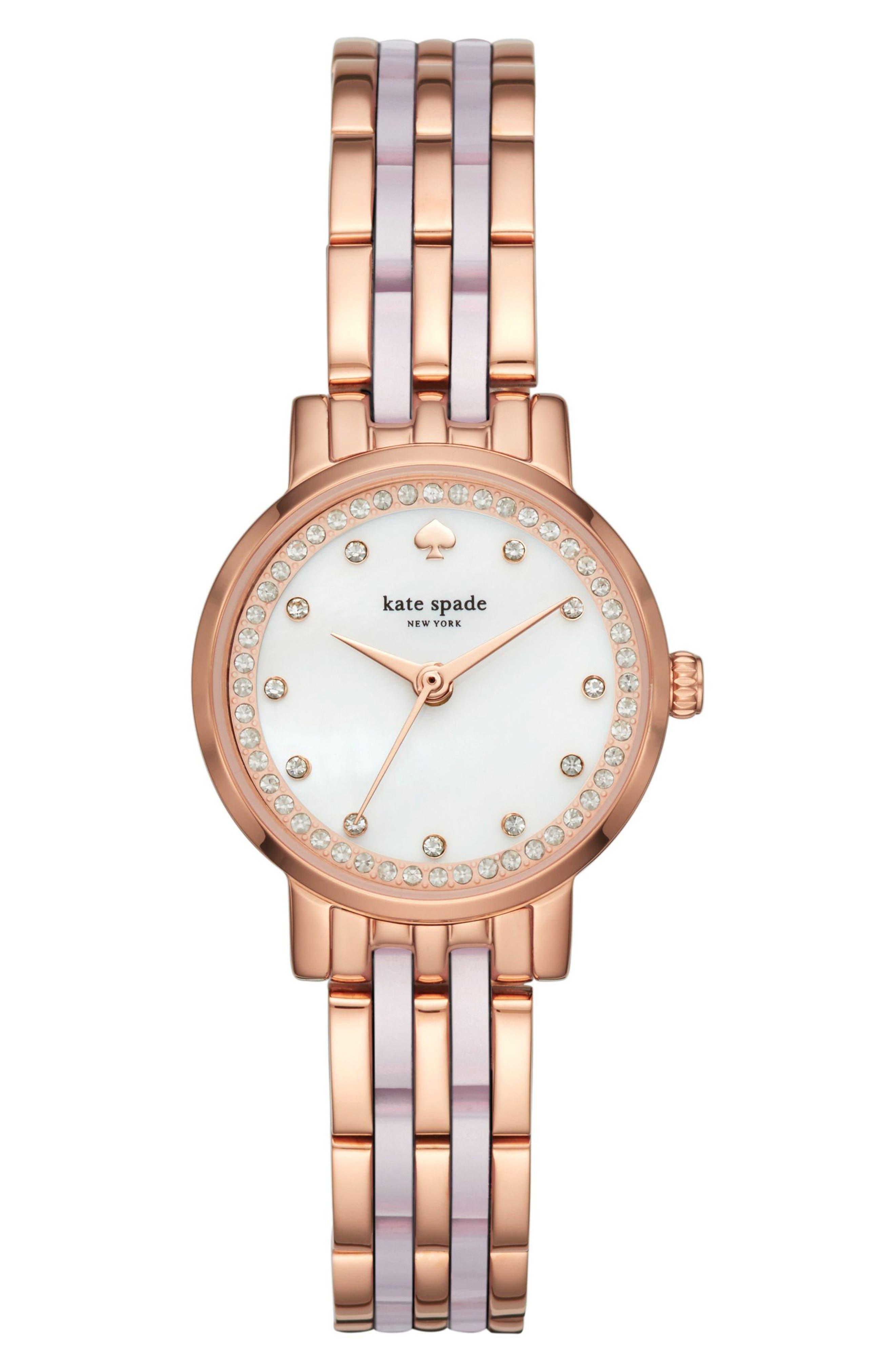 monterey crystal dial bracelet watch, 24mm,                             Main thumbnail 1, color,                             BLUSH/ PINK/ ROSE GOLD/ MOP