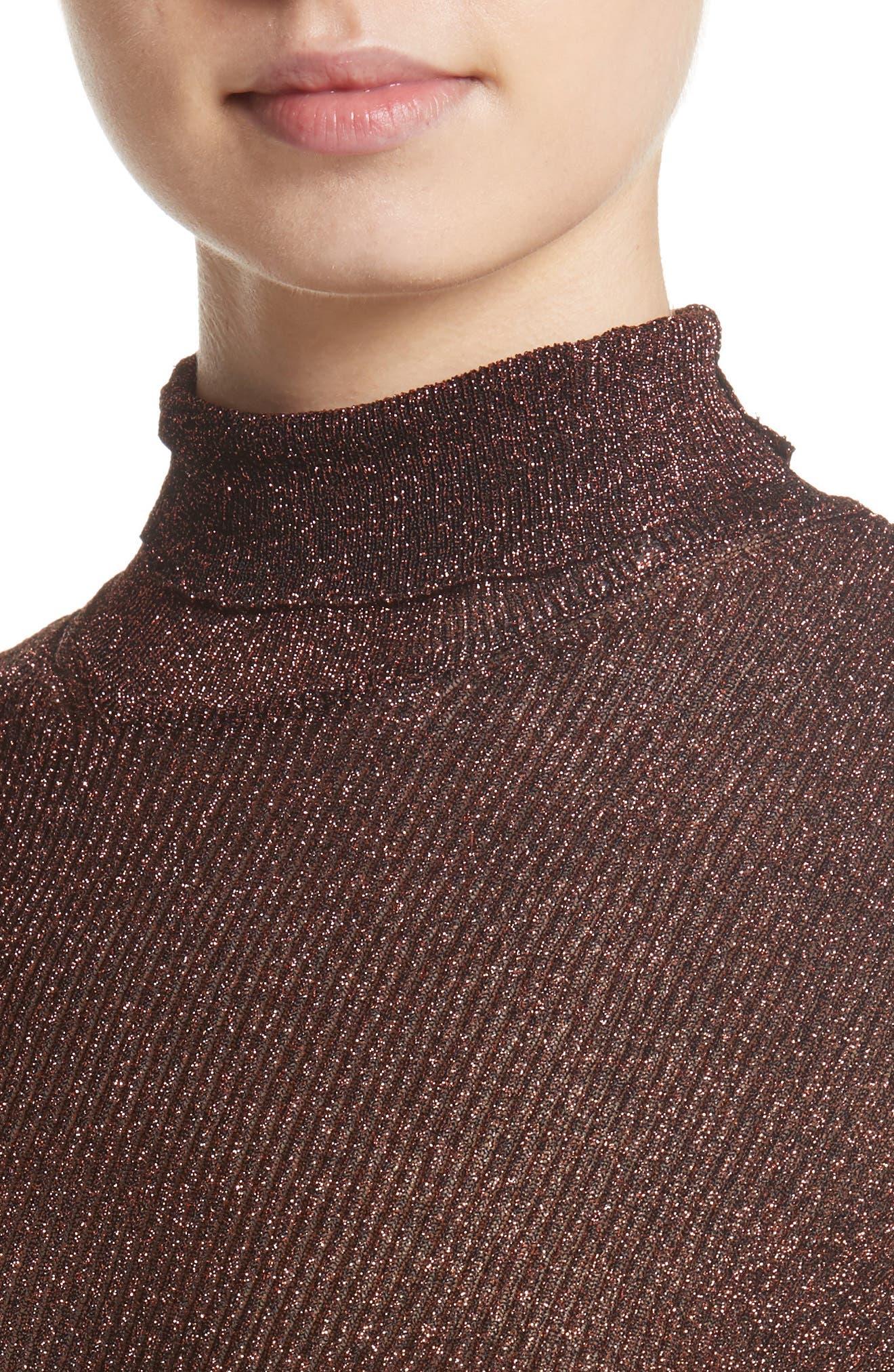 Metallic Knit Turtleneck,                             Alternate thumbnail 4, color,                             220