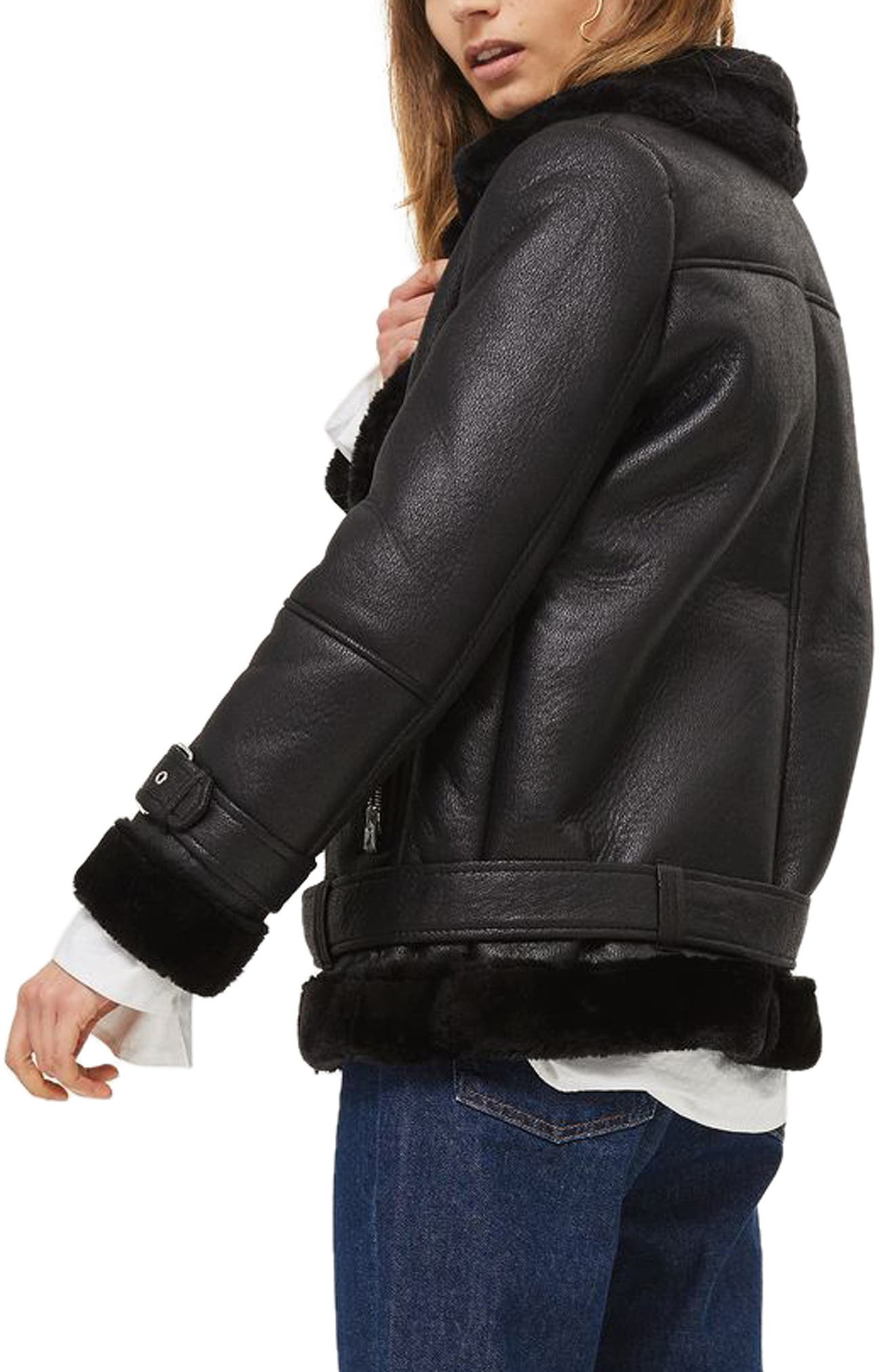 TOPSHOP,                             Faux Shearling Biker Jacket,                             Alternate thumbnail 2, color,                             001