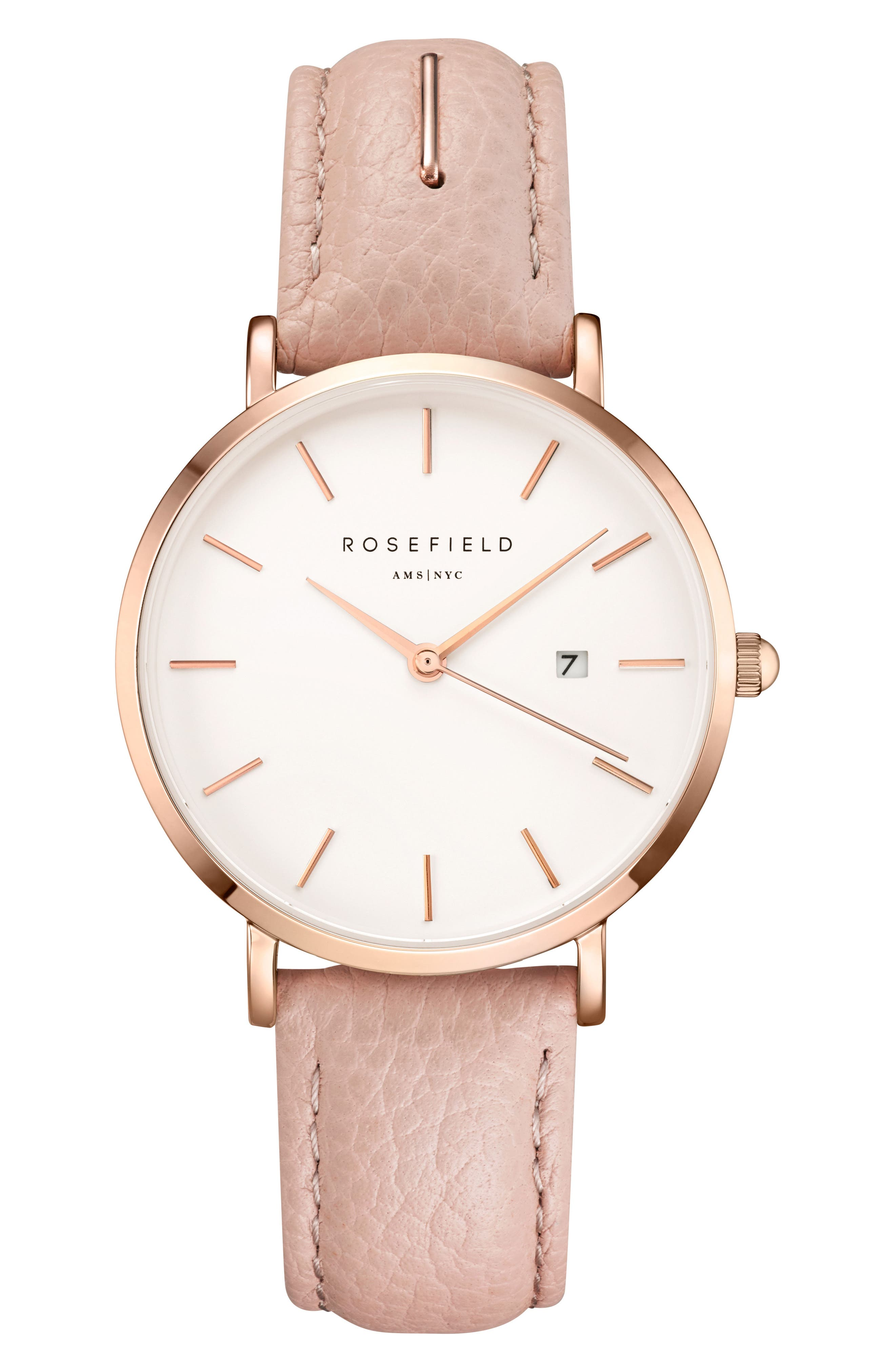 The September Issue Leather Strap Watch, 33mm,                         Main,                         color, SOFT PINK/ ROSE GOLD