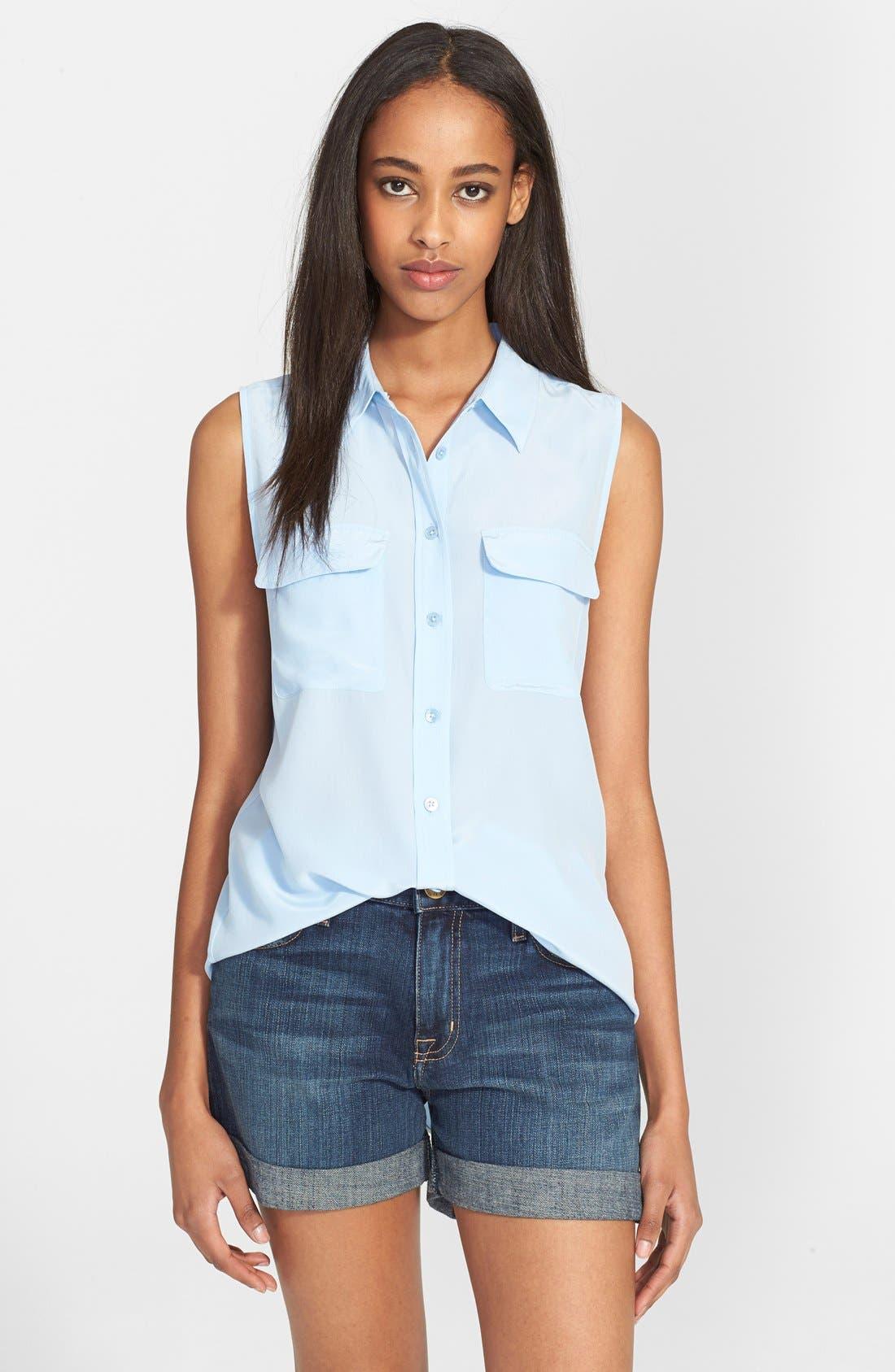 'Slim Signature' Sleeveless Silk Shirt,                             Main thumbnail 31, color,