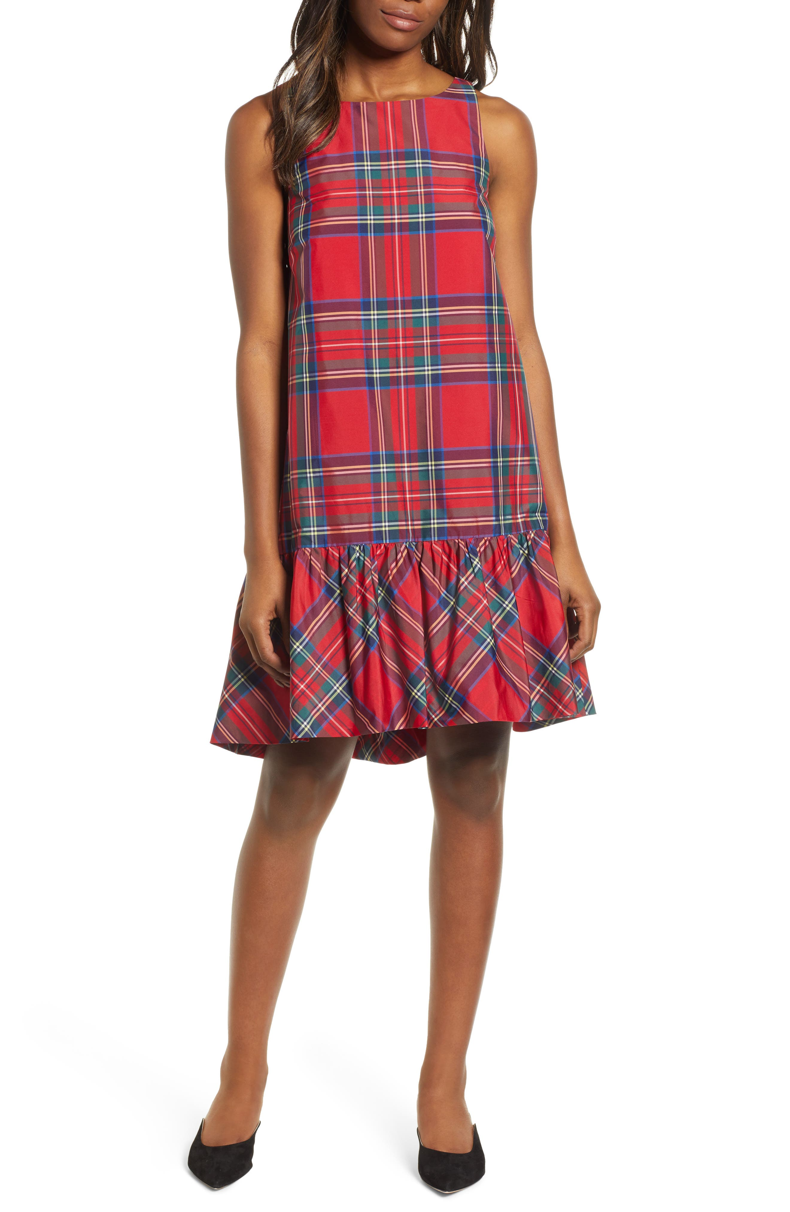 Amelia Jolly Plaid Swing Dress,                             Main thumbnail 1, color,                             CALYPSO RED