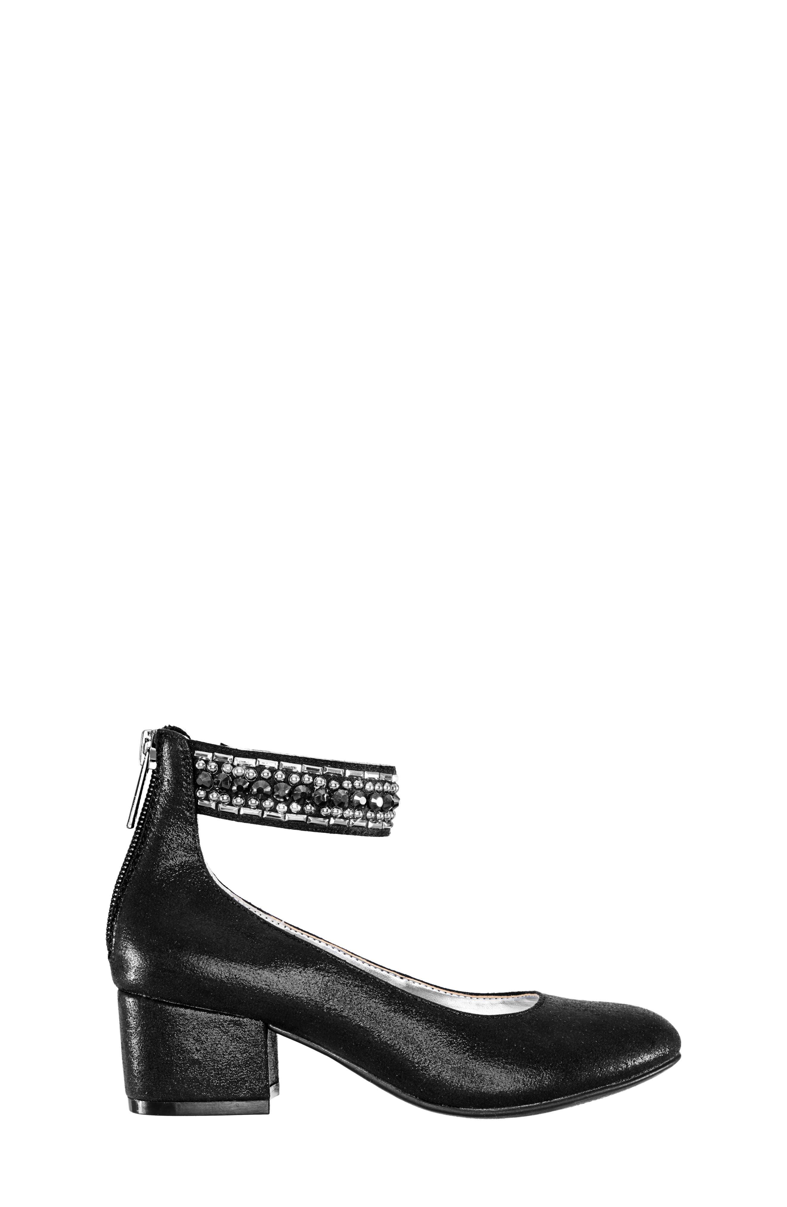Charleen Ankle Strap Pump,                             Alternate thumbnail 3, color,                             BLACK SHIMMER FABRIC
