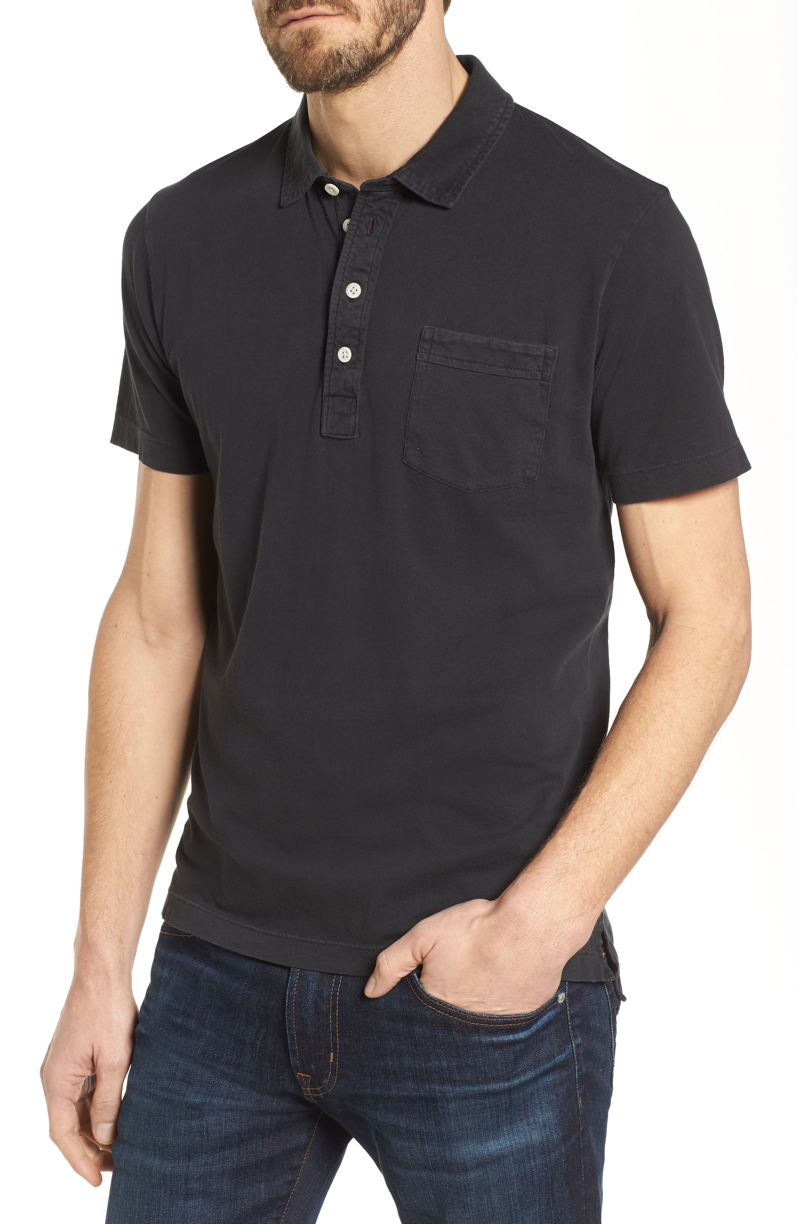 Pensacola Slim Fit Garment Dye Polo,                         Main,                         color, BLACK