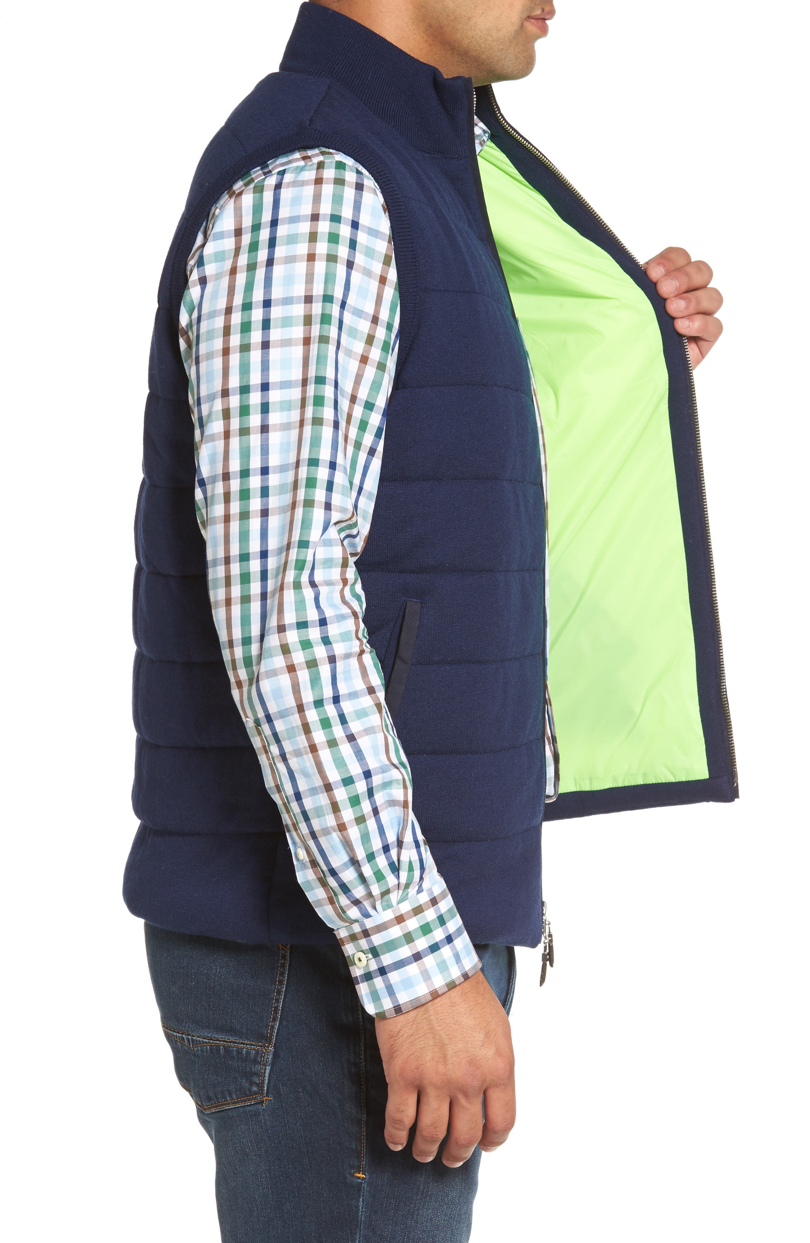Quilted Wool & Cotton Full Zip Vest,                             Alternate thumbnail 6, color,