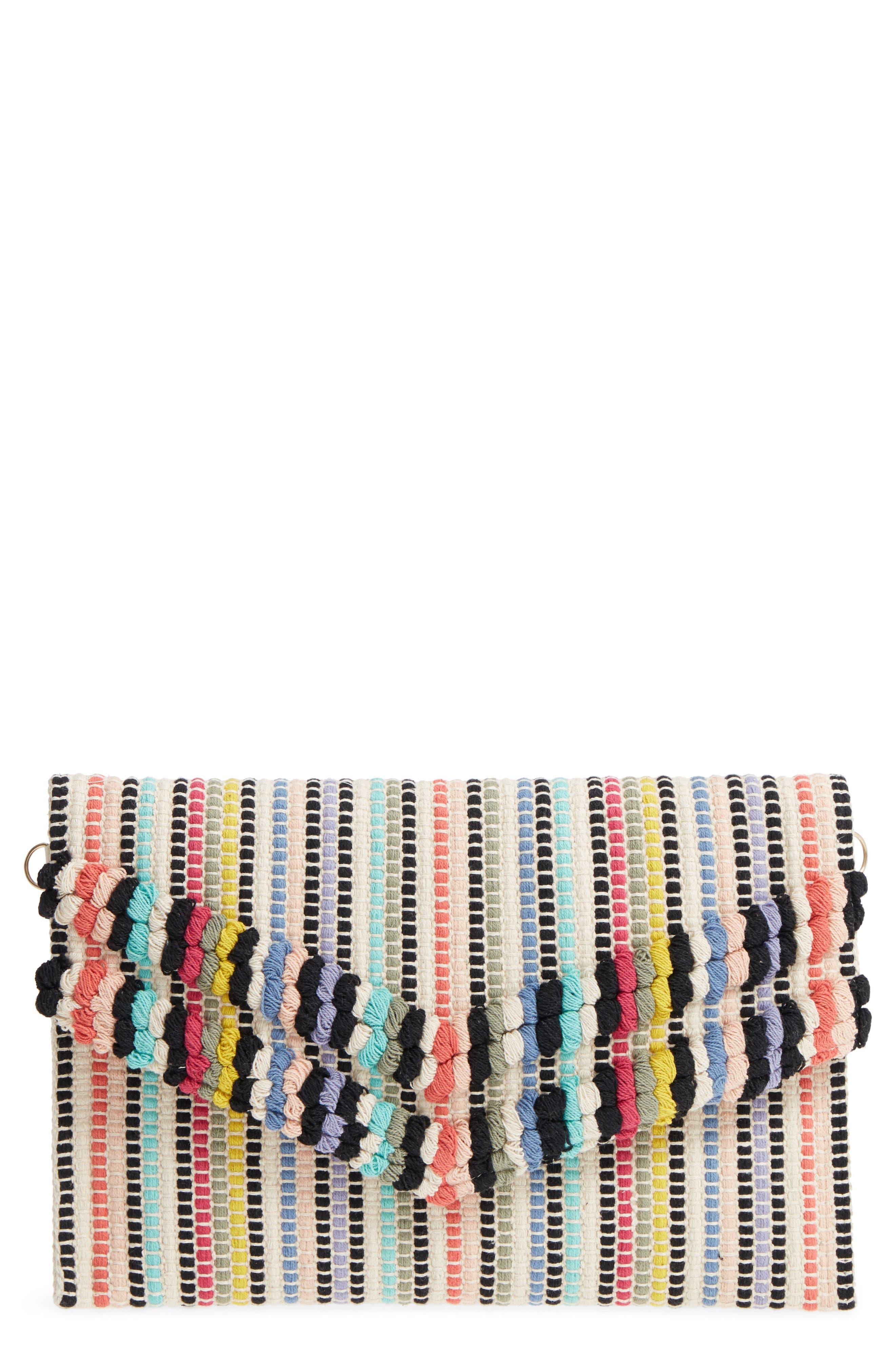 Stripe Envelope Clutch,                         Main,                         color, 001