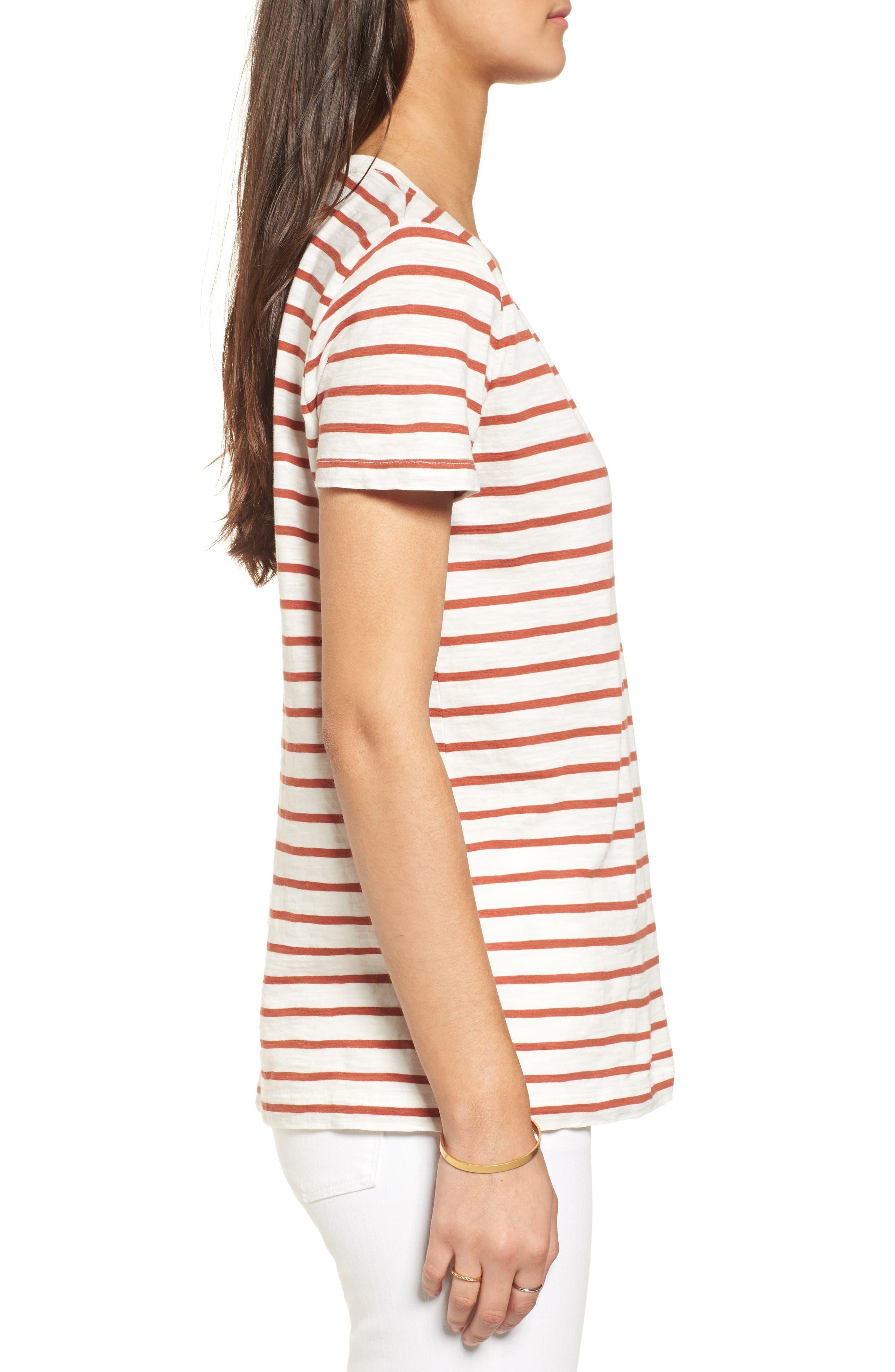 Whisper Cotton Stripe V-Neck Tee,                             Alternate thumbnail 3, color,                             100