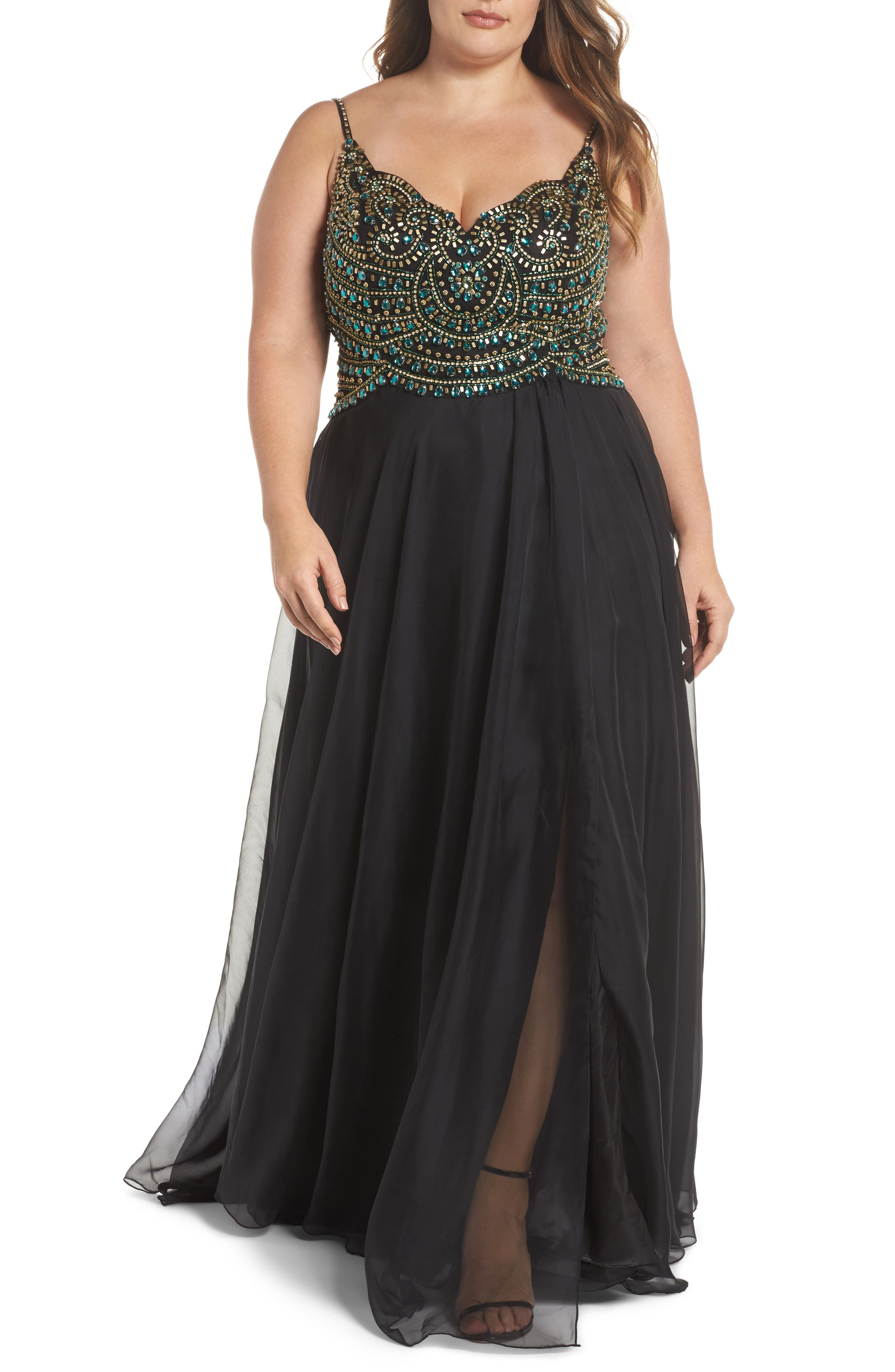 Embellished Gown,                         Main,                         color, 001