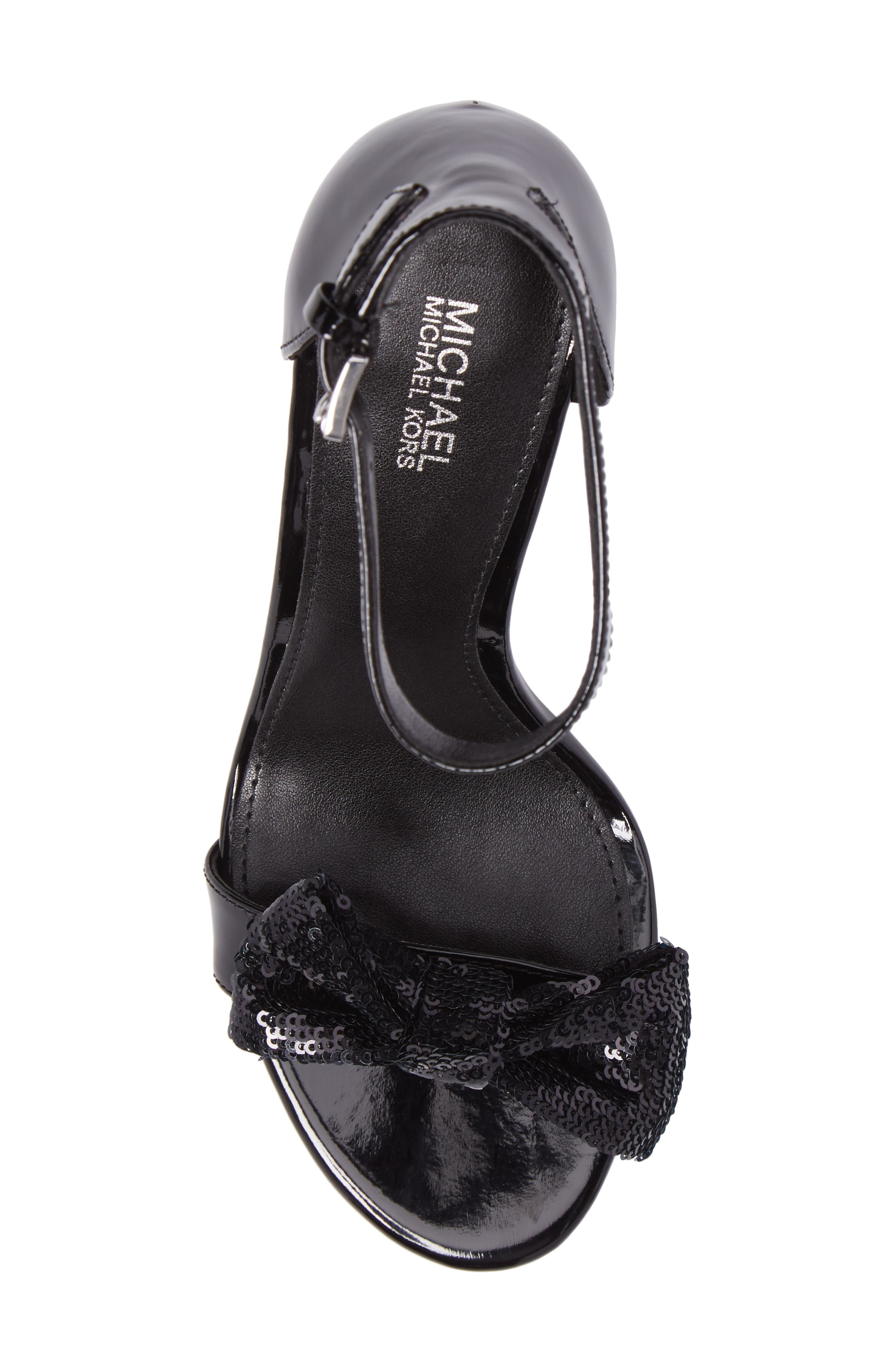Paris Sequin Bow Sandal,                             Alternate thumbnail 5, color,                             001