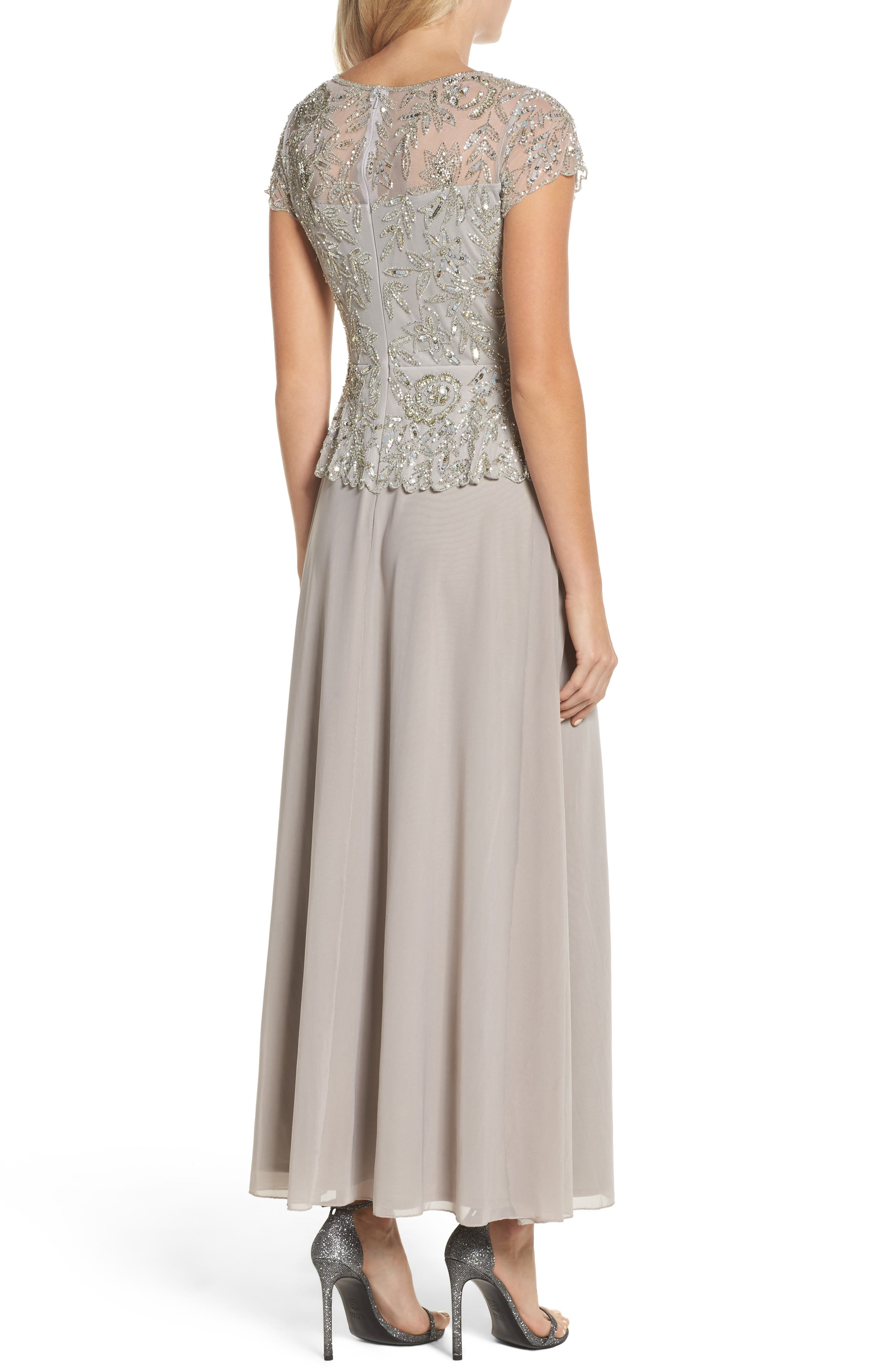 Beaded Mesh Mock Two-Piece Gown,                             Alternate thumbnail 2, color,                             SILVER