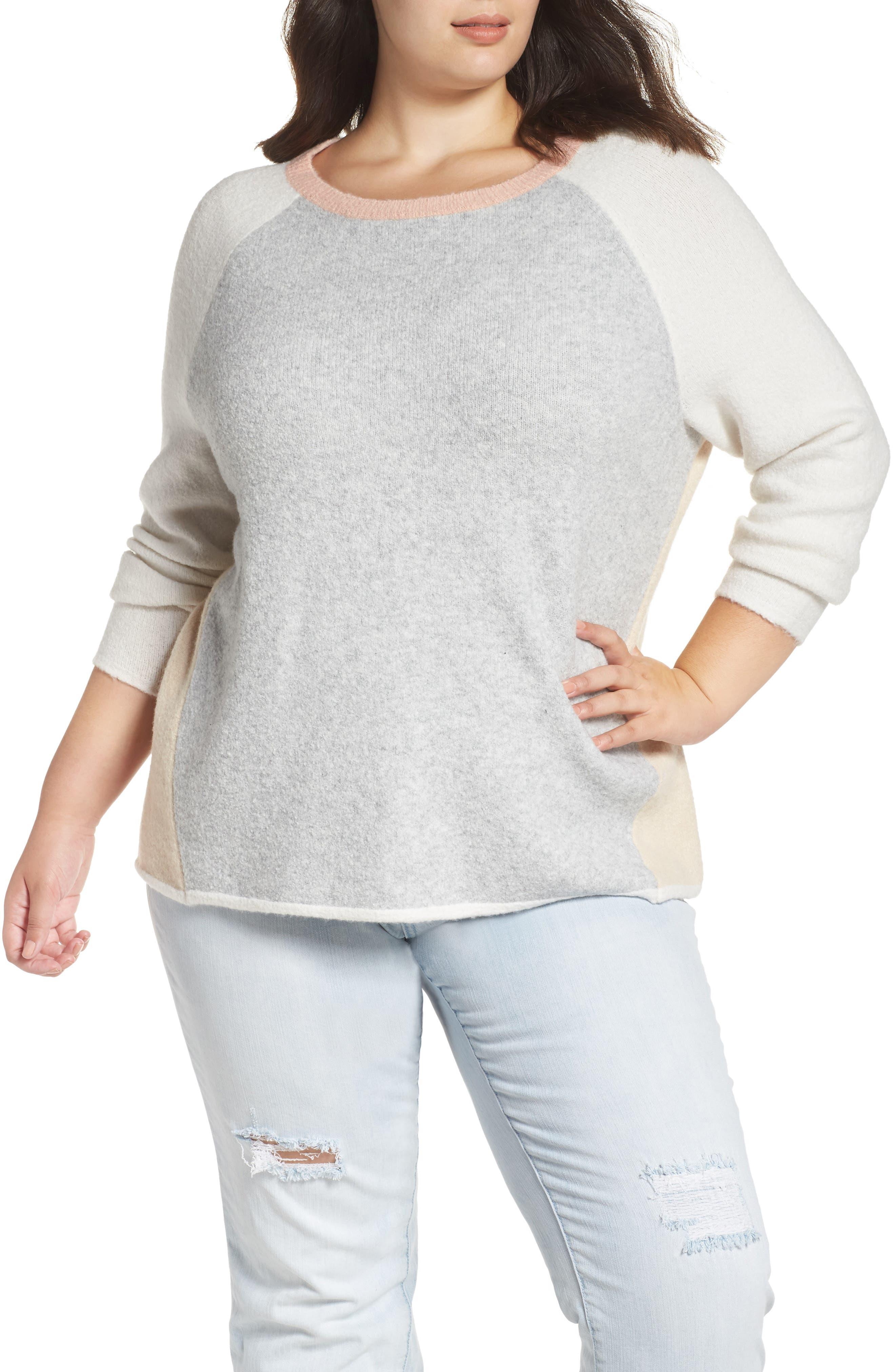 Plus Size Caslon Colorblock Sweater, Grey
