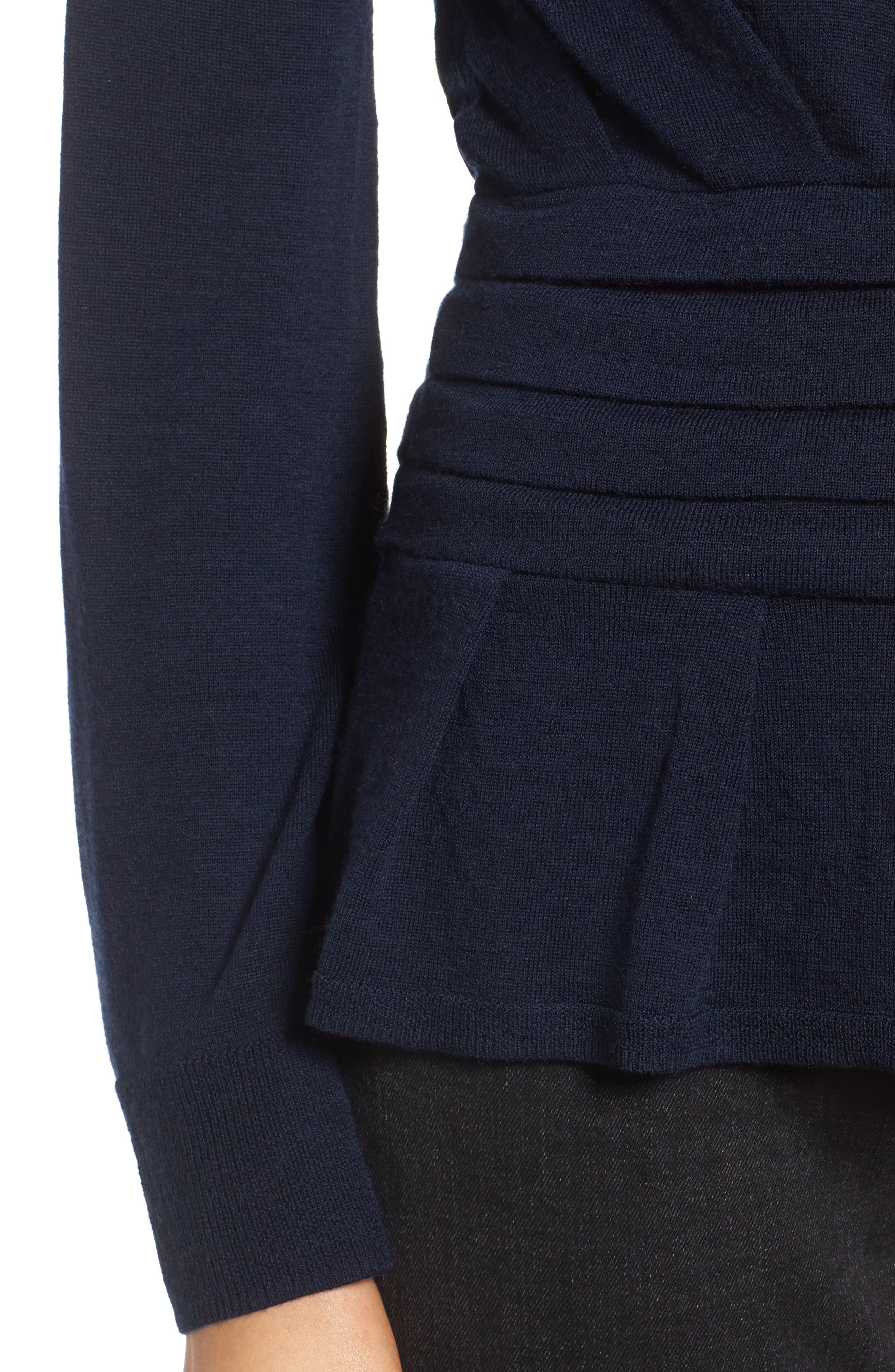 x Something Navy One-Sleeve Sweater,                             Alternate thumbnail 4, color,
