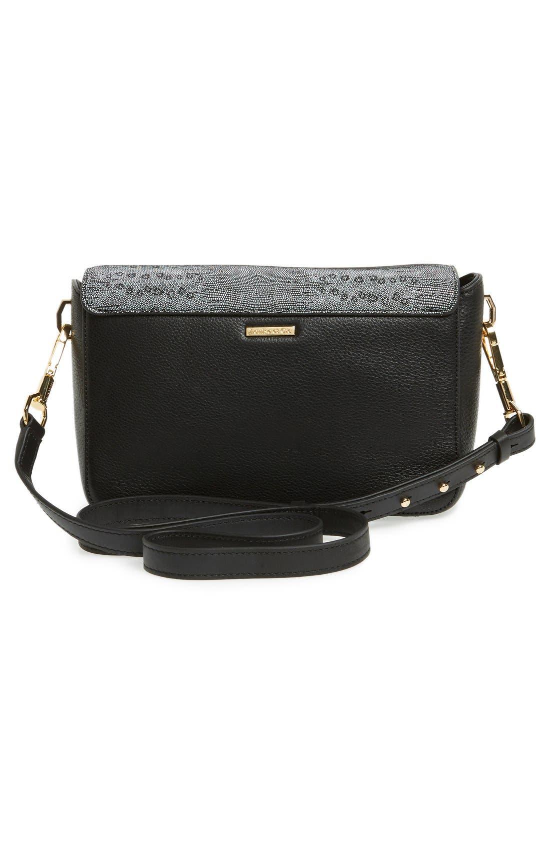 'Small Alis' Leather Crossbody Bag,                             Alternate thumbnail 3, color,                             001