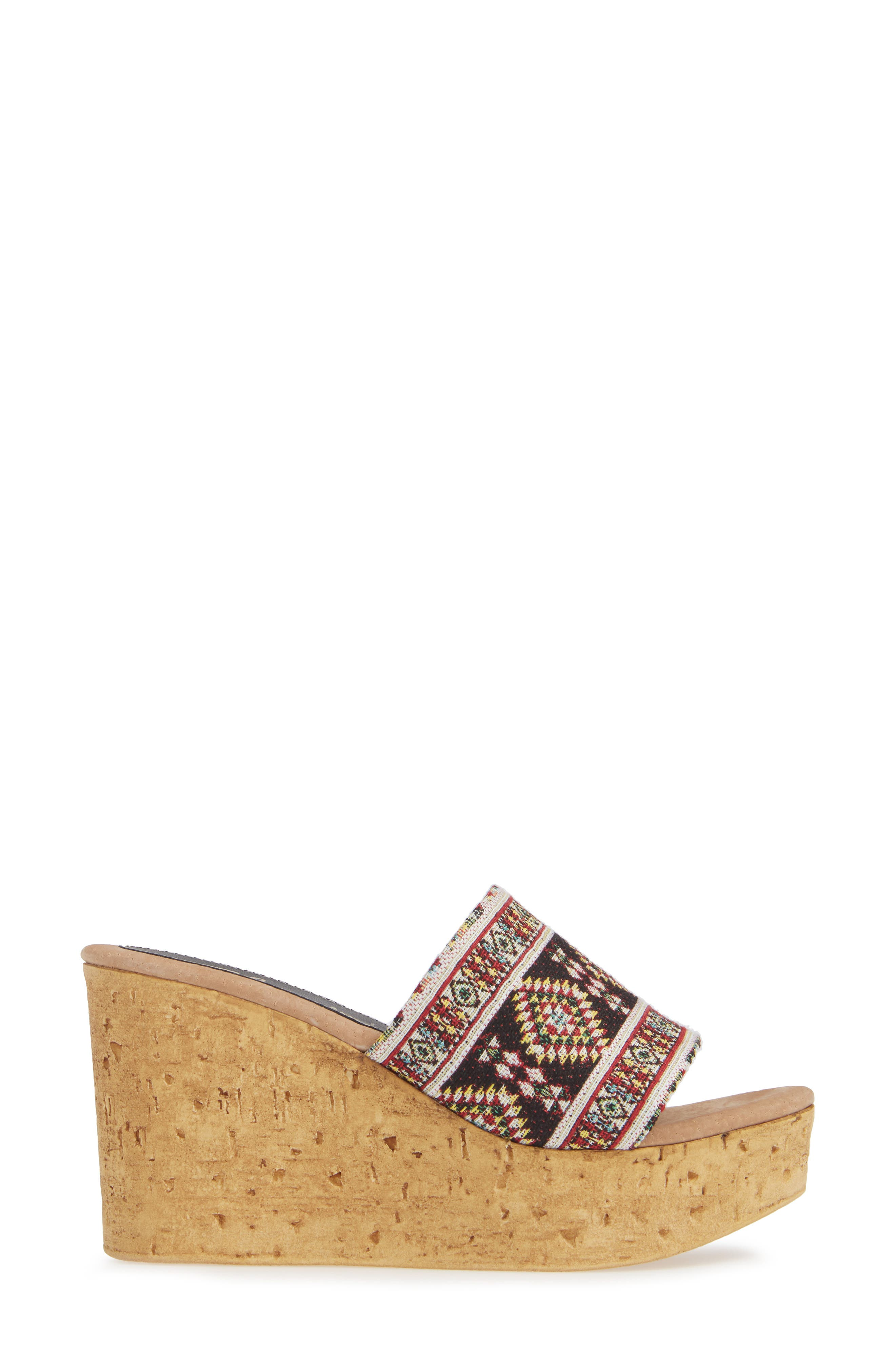 Orabela Platform Wedge Sandal,                             Alternate thumbnail 3, color,                             BLACK MULTICOLOR FABRIC