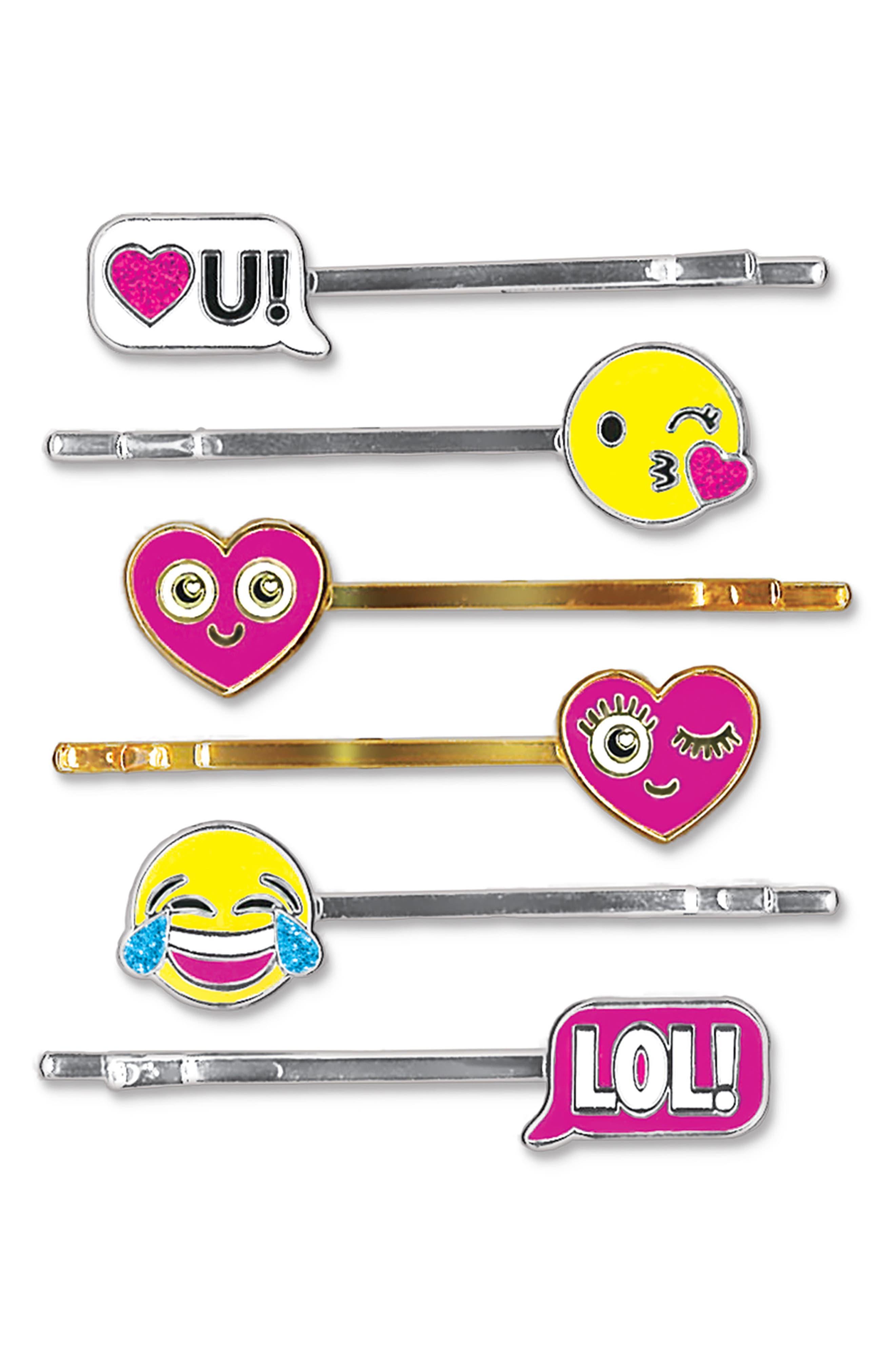 CHARM IT!<sup>®</sup> Party 6-Pack Emoji Bobby Pins,                             Main thumbnail 1, color,                             100