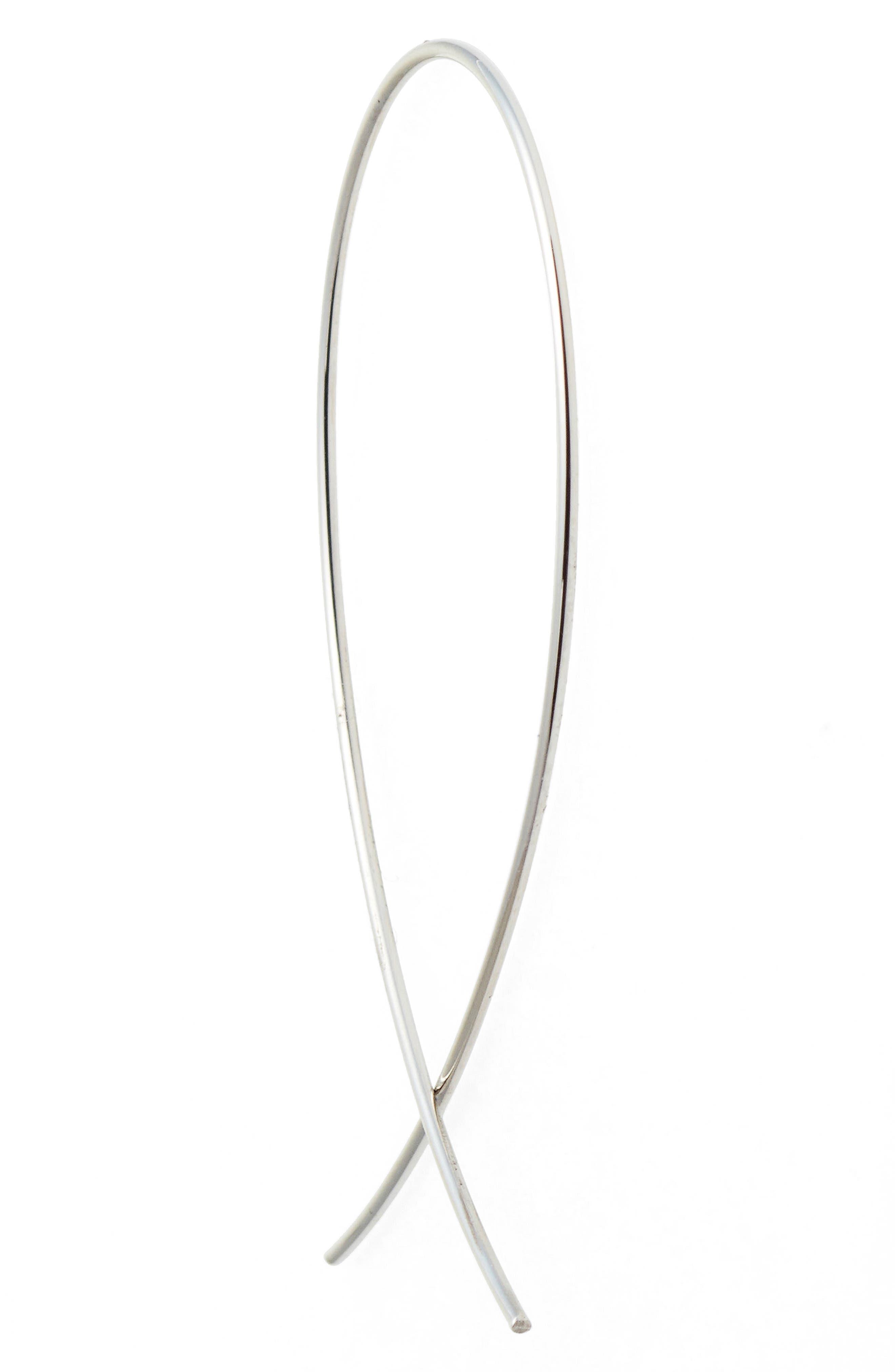'Upside Down' Small Hoop Earrings,                             Alternate thumbnail 3, color,                             WHITE GOLD