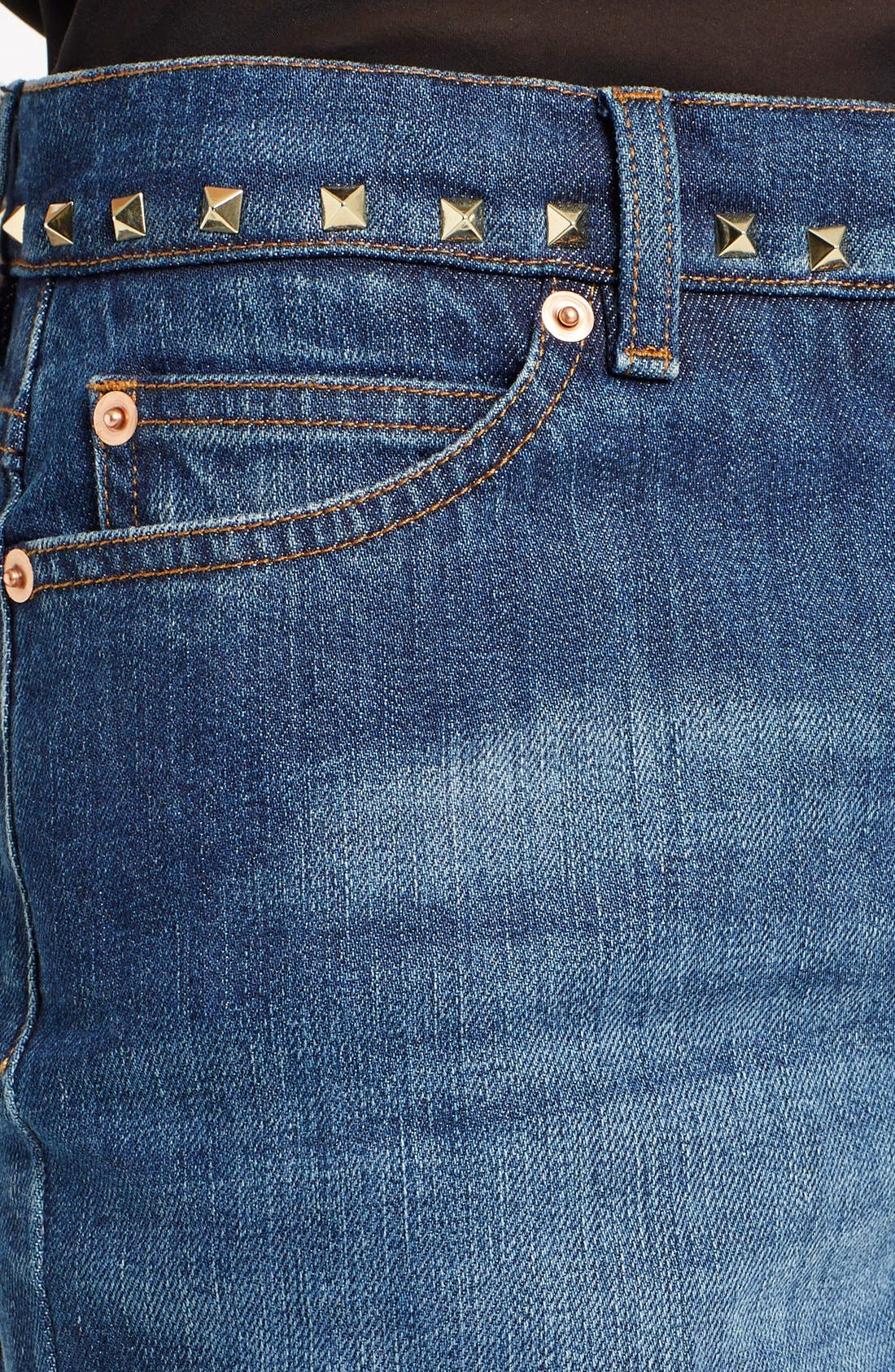 Studded Wide Leg Jeans,                             Alternate thumbnail 5, color,                             MEDIUM BLUE