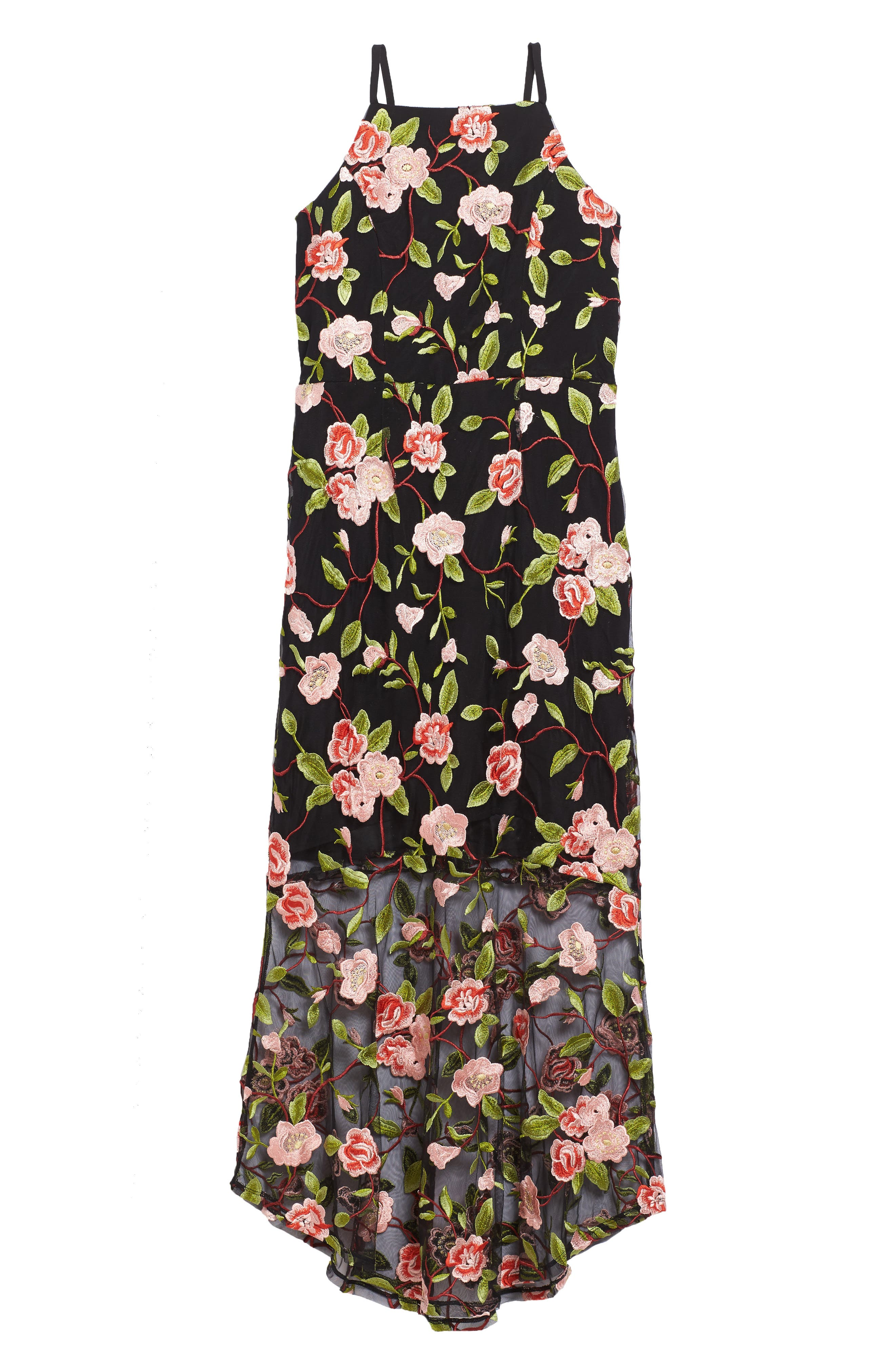 Floral Embroidered Slip Dress,                             Main thumbnail 1, color,                             001