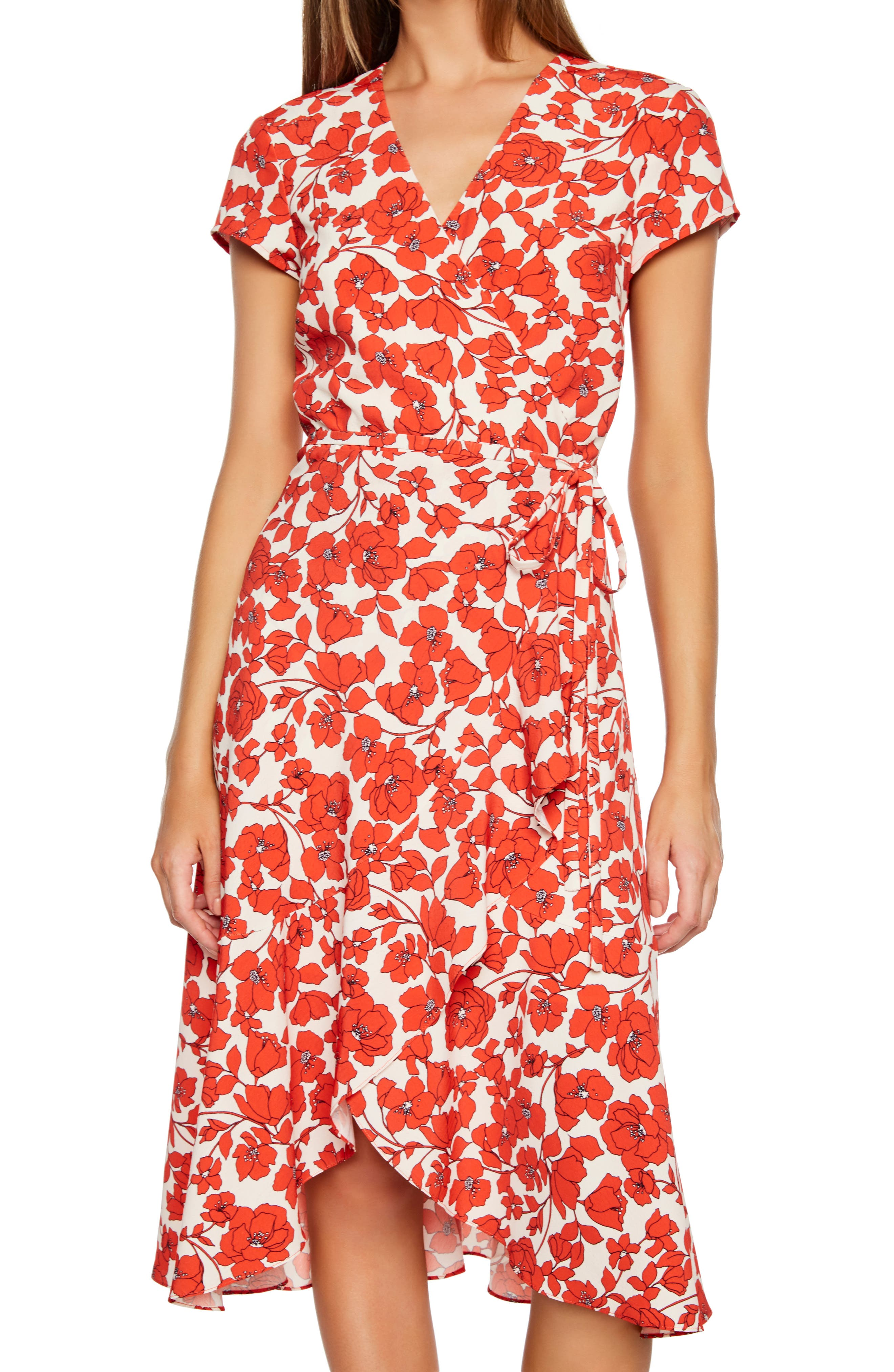 BARDOT,                             Fiesta Floral Midi Dress,                             Alternate thumbnail 5, color,                             ORANGE FLORAL