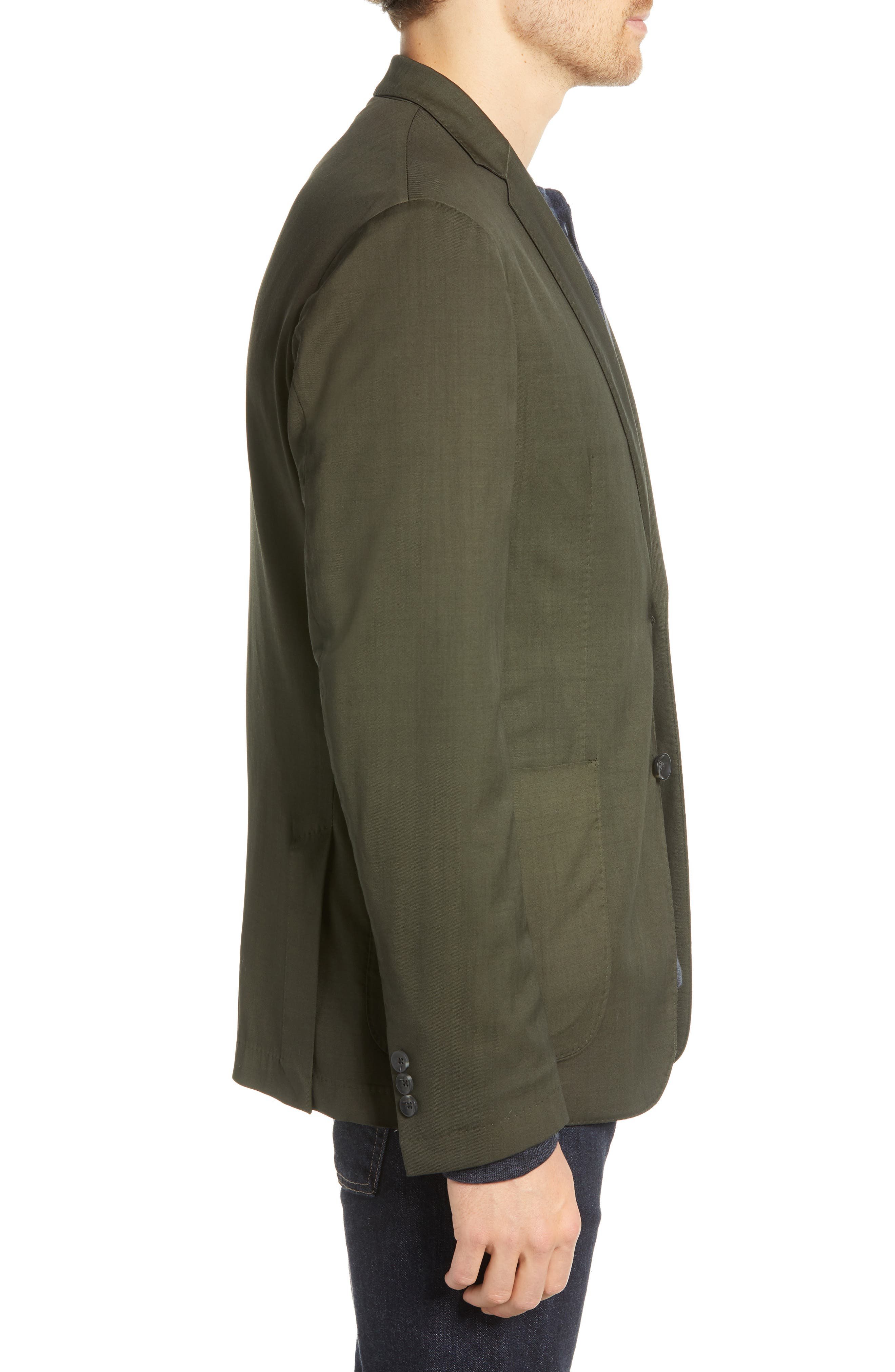 Extra Trim Fit Garment Dyed Wool Sport Coat,                             Alternate thumbnail 3, color,                             OLIVE