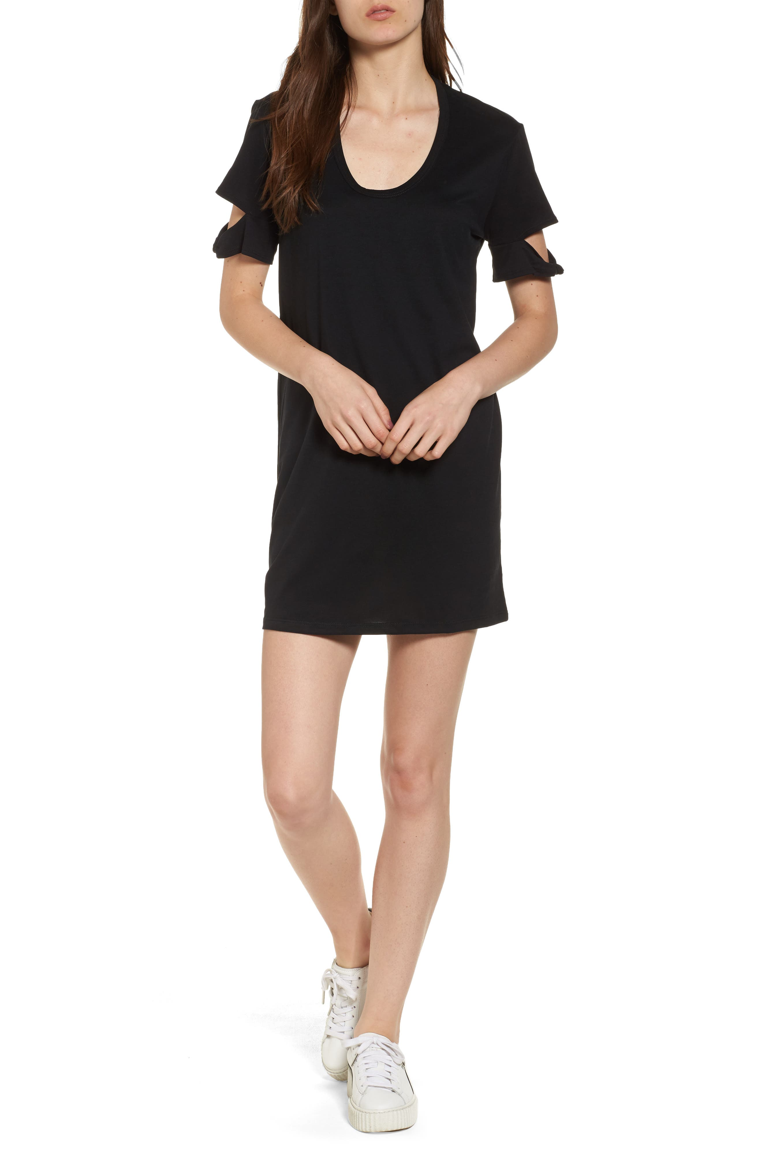 Knotted Sleeve T-Shirt Dress,                             Main thumbnail 1, color,                             001